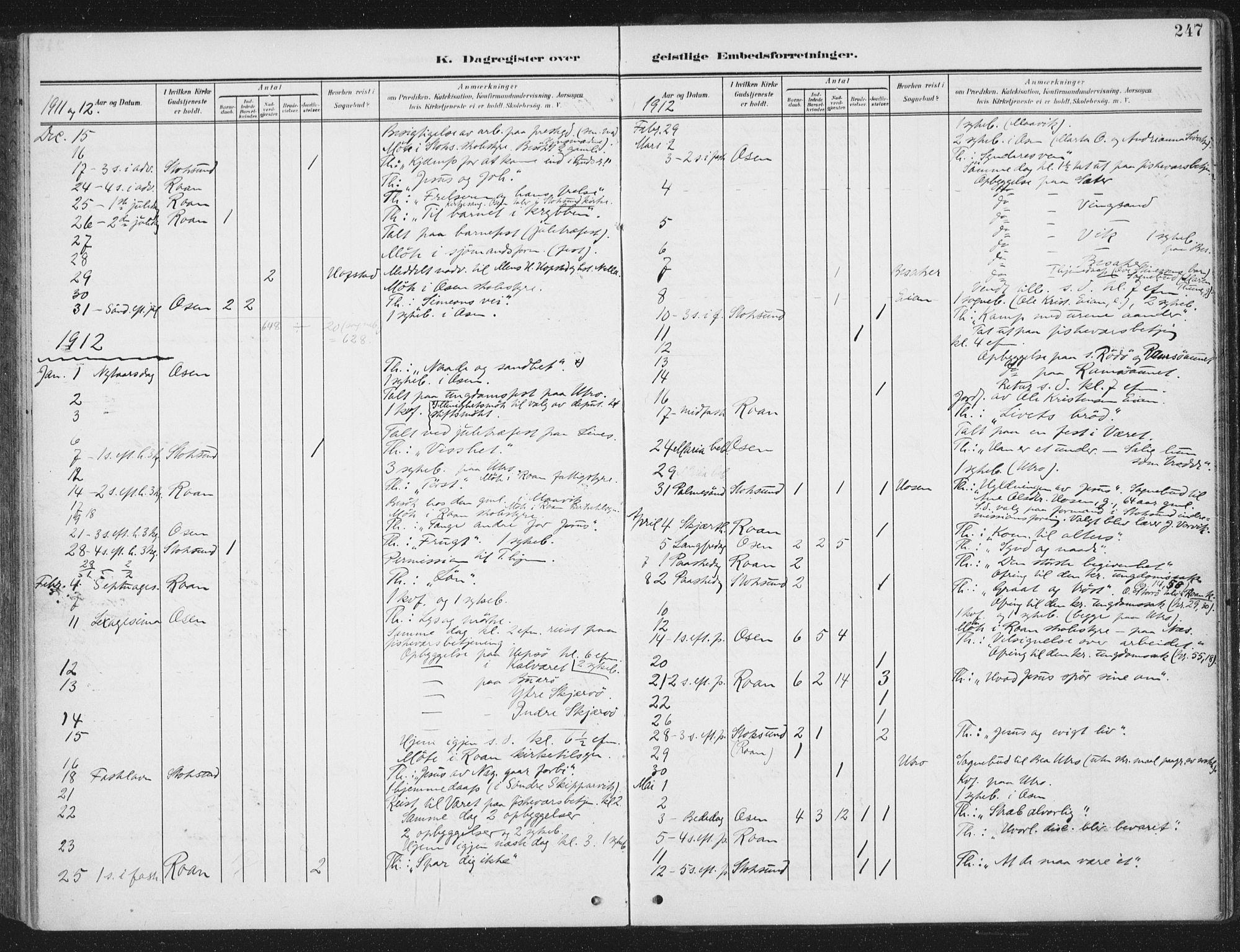 SAT, Ministerialprotokoller, klokkerbøker og fødselsregistre - Sør-Trøndelag, 657/L0709: Ministerialbok nr. 657A10, 1905-1919, s. 247