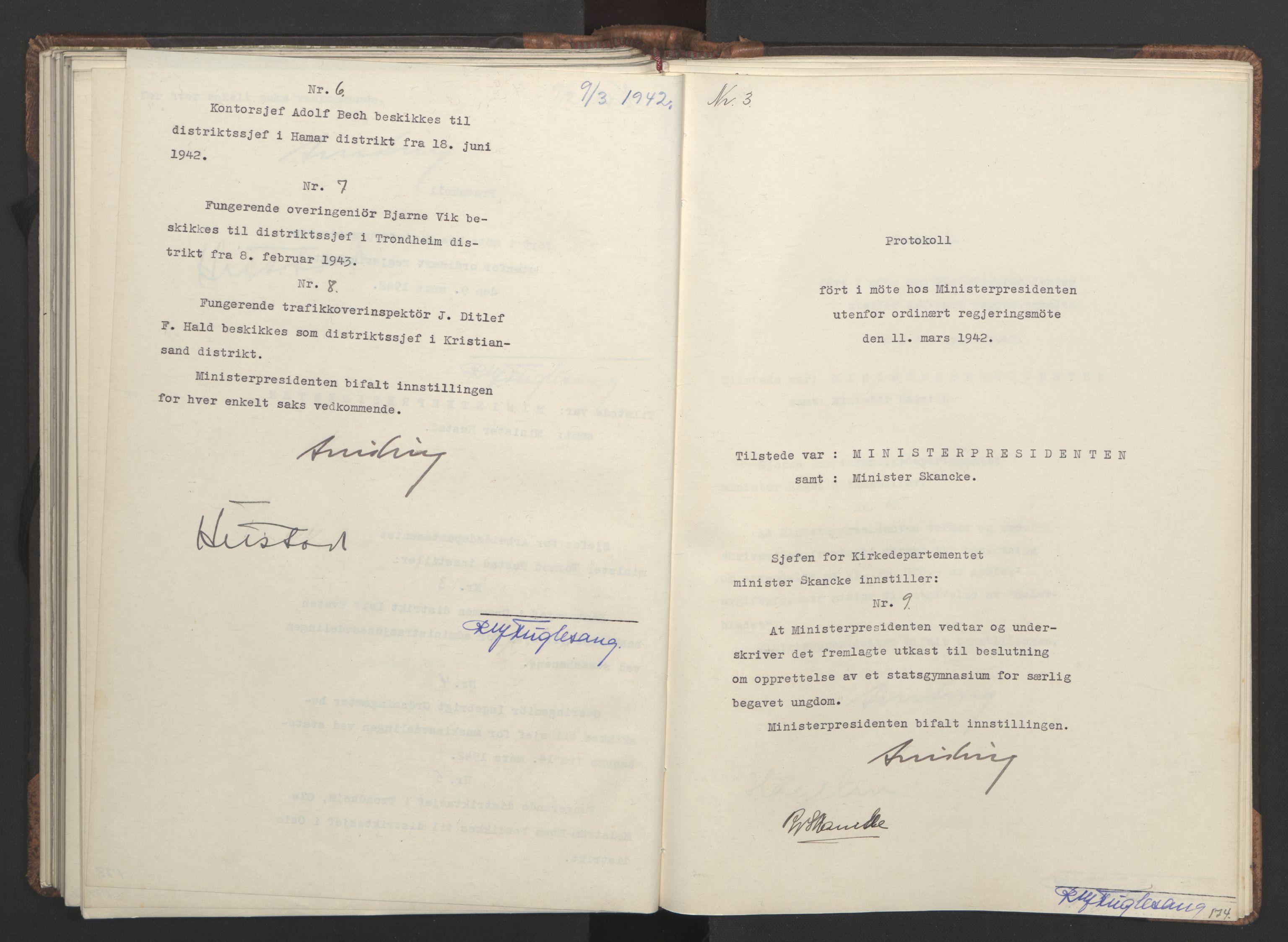 RA, NS-administrasjonen 1940-1945 (Statsrådsekretariatet, de kommisariske statsråder mm), D/Da/L0001: Beslutninger og tillegg (1-952 og 1-32), 1942, s. 173b-174a