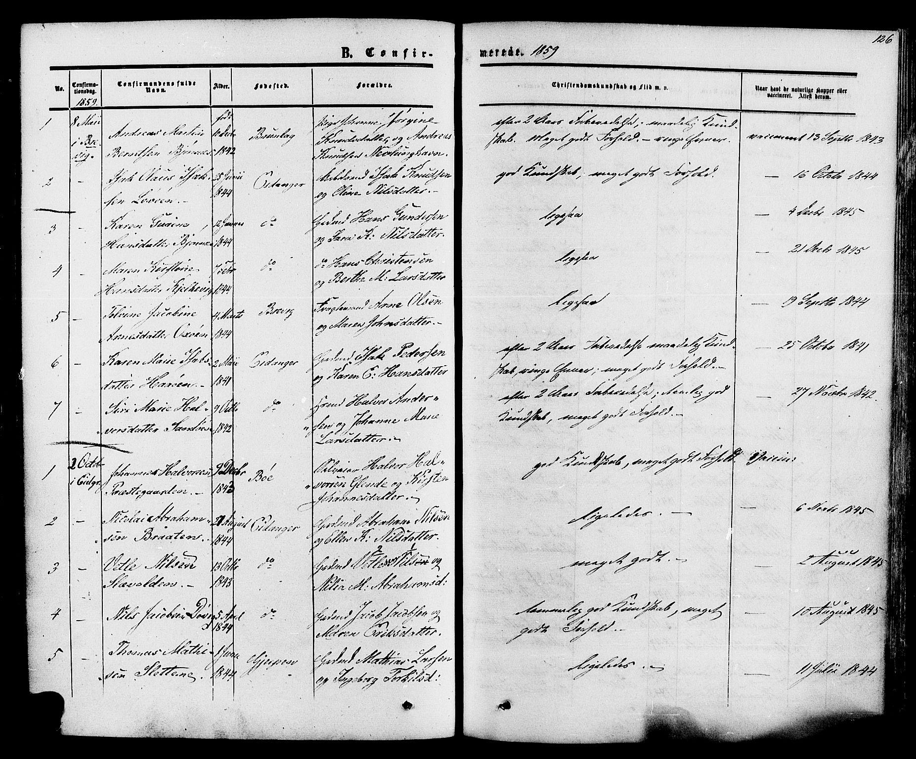 SAKO, Eidanger kirkebøker, F/Fa/L0010: Ministerialbok nr. 10, 1859-1874, s. 126
