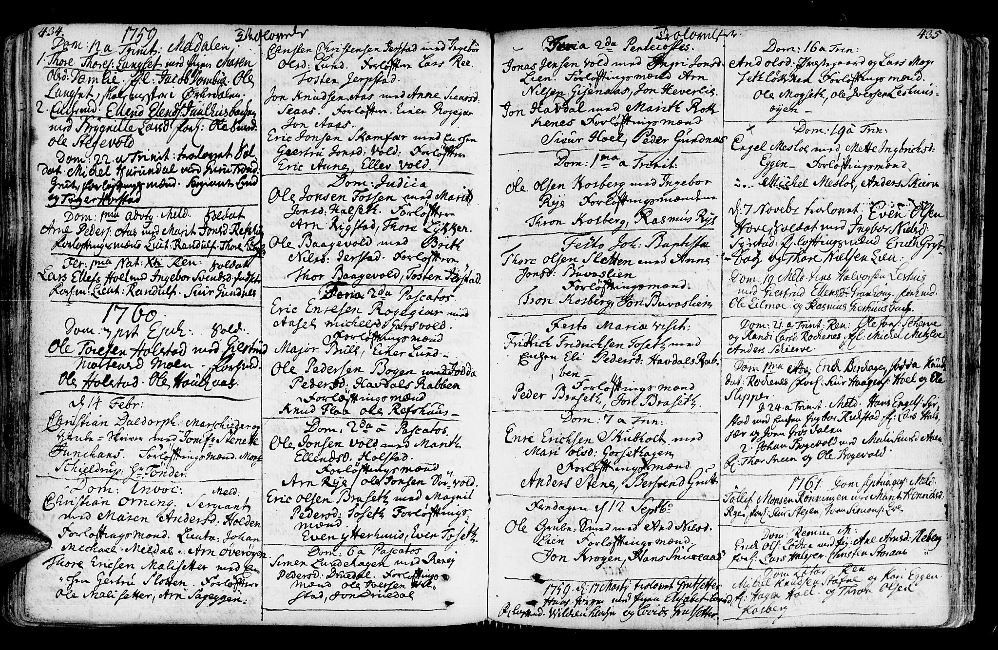 SAT, Ministerialprotokoller, klokkerbøker og fødselsregistre - Sør-Trøndelag, 672/L0851: Ministerialbok nr. 672A04, 1751-1775, s. 434-435
