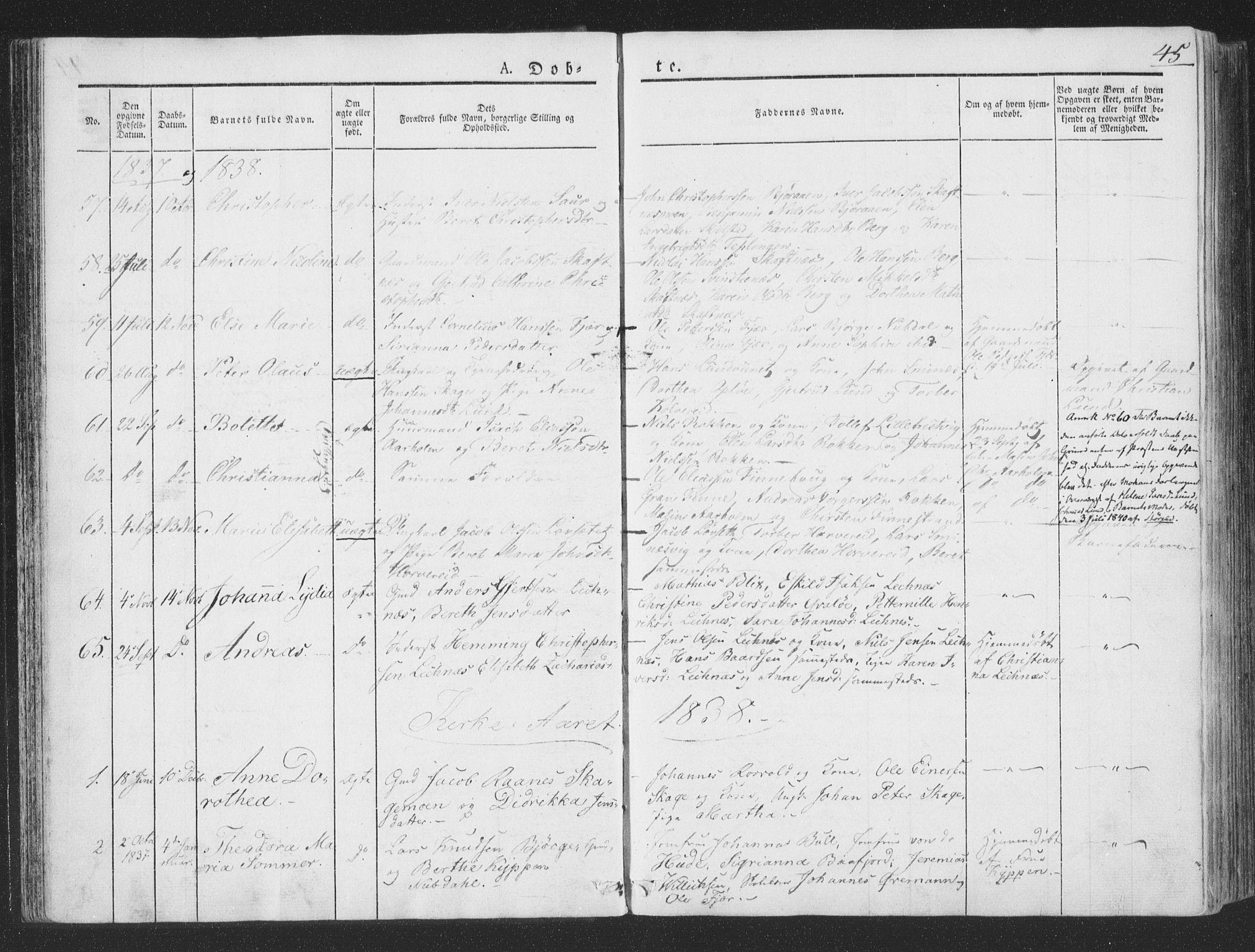 SAT, Ministerialprotokoller, klokkerbøker og fødselsregistre - Nord-Trøndelag, 780/L0639: Ministerialbok nr. 780A04, 1830-1844, s. 45