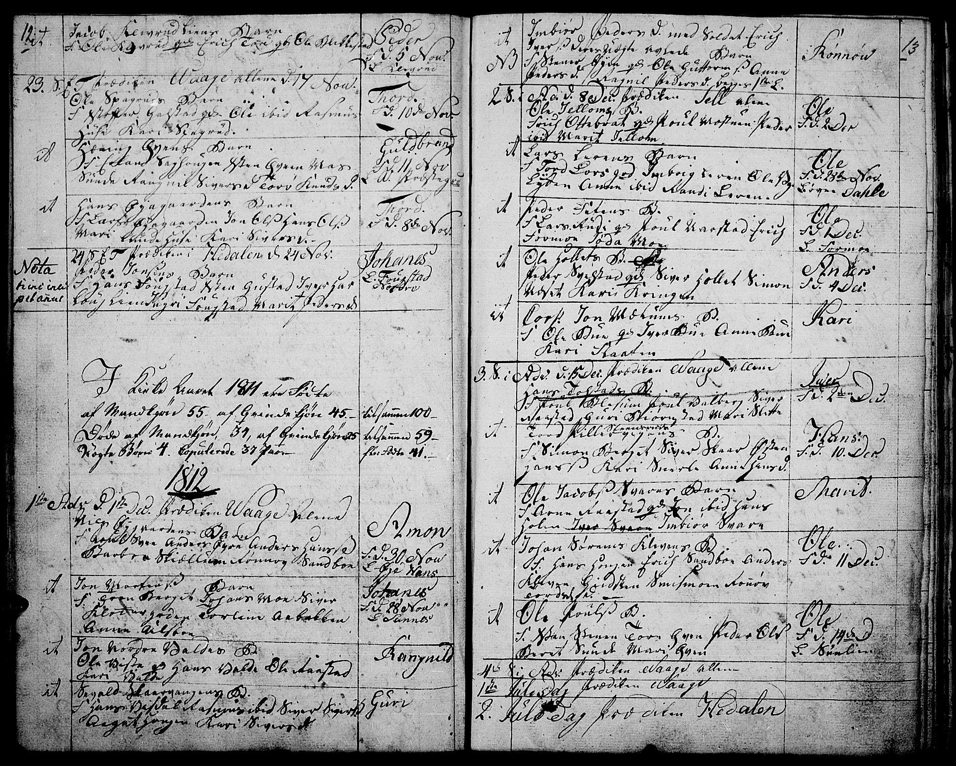 SAH, Vågå prestekontor, Ministerialbok nr. 2, 1810-1815, s. 12-13