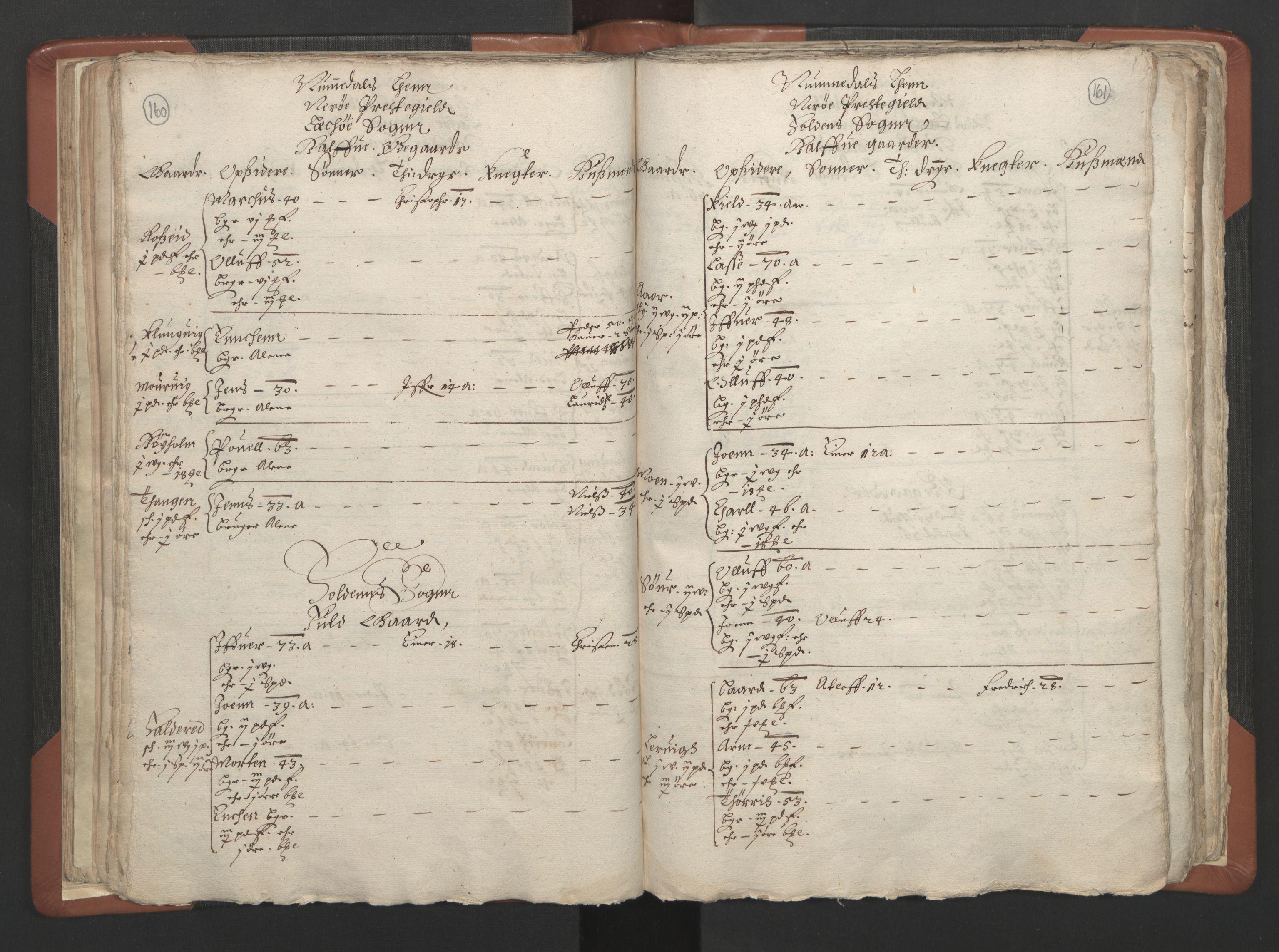 RA, Sogneprestenes manntall 1664-1666, nr. 34: Namdal prosti, 1664-1666, s. 160-161