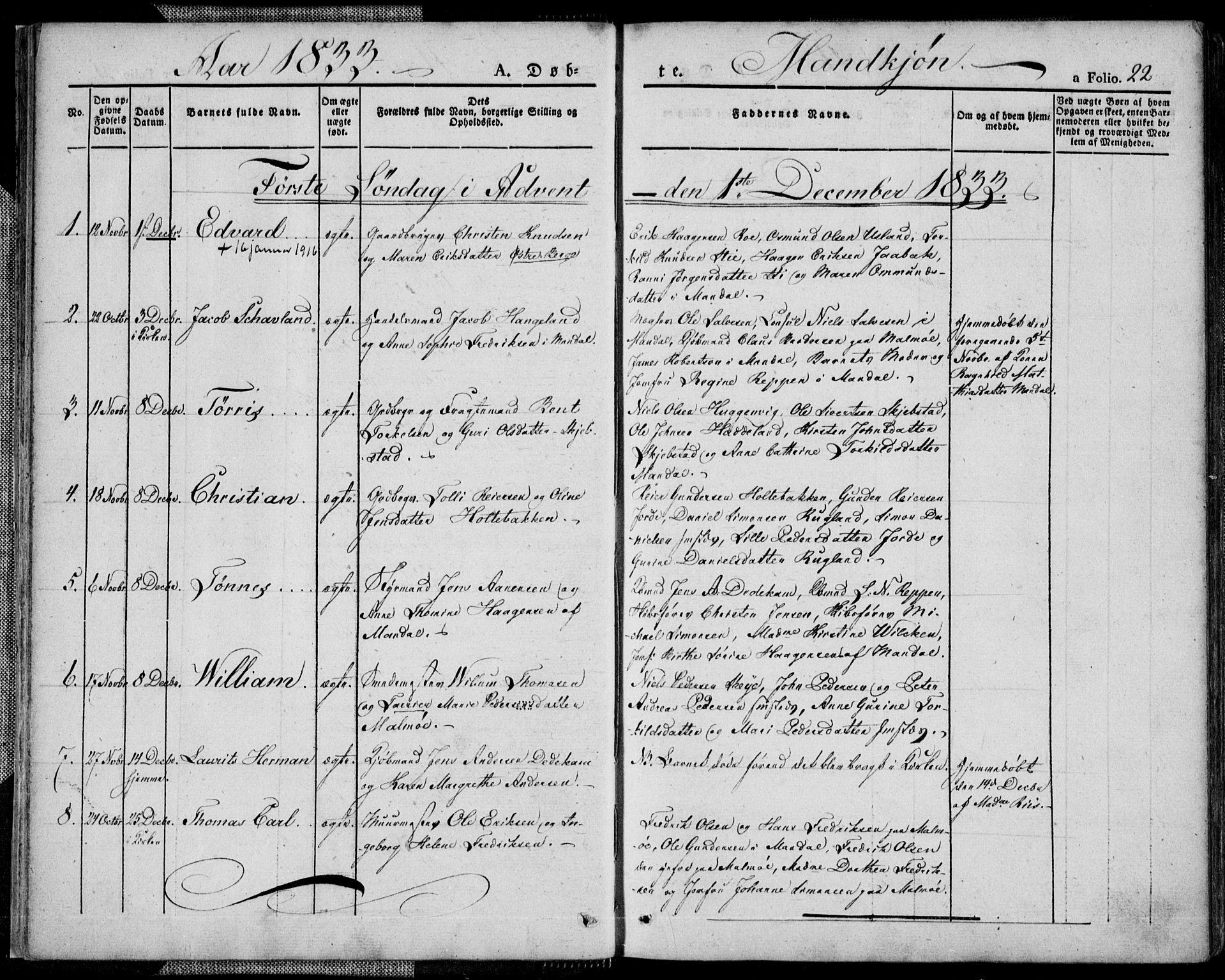 SAK, Mandal sokneprestkontor, F/Fa/Faa/L0011: Ministerialbok nr. A 11, 1830-1839, s. 22