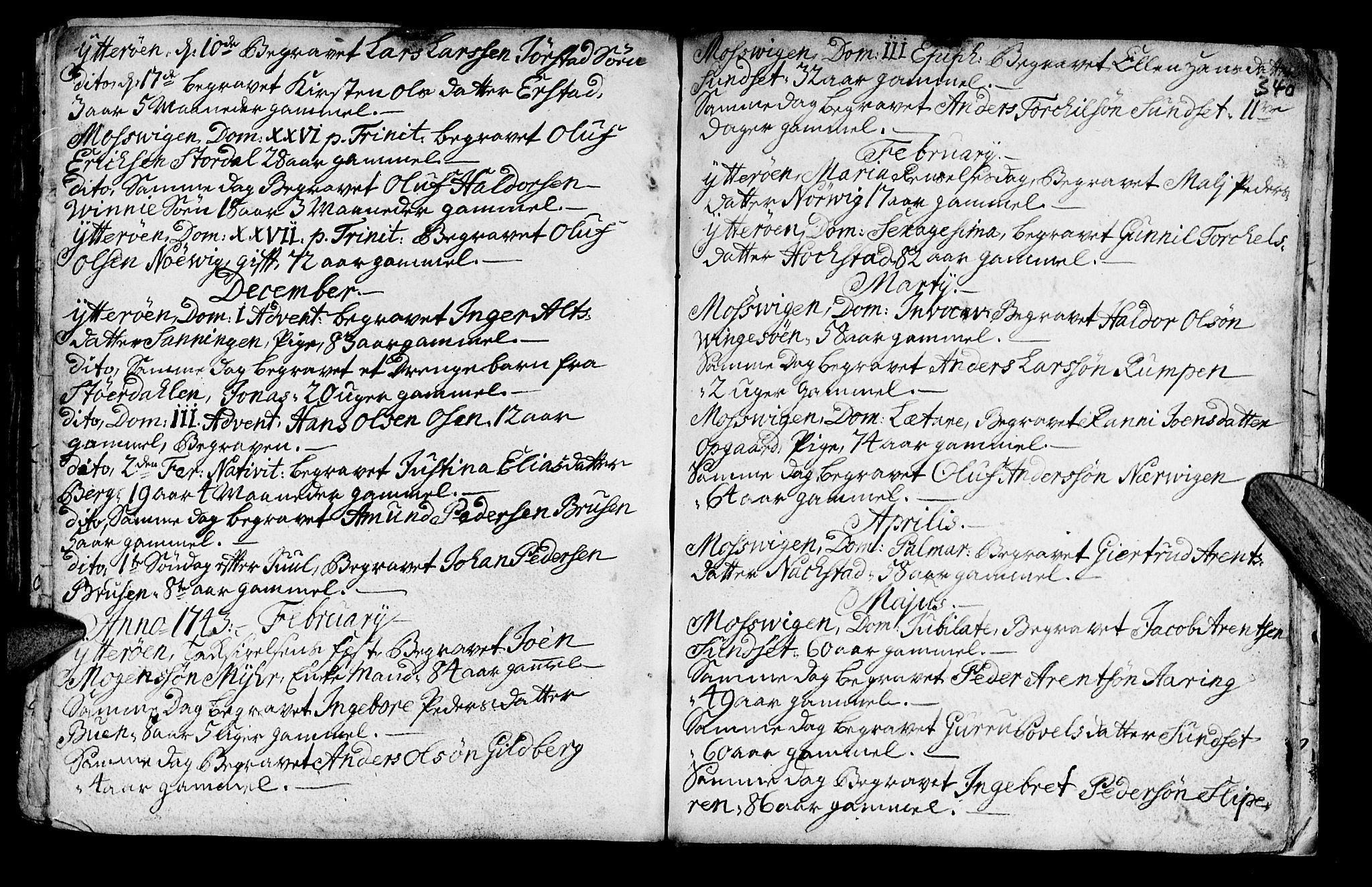 SAT, Ministerialprotokoller, klokkerbøker og fødselsregistre - Nord-Trøndelag, 722/L0215: Ministerialbok nr. 722A02, 1718-1755, s. 340