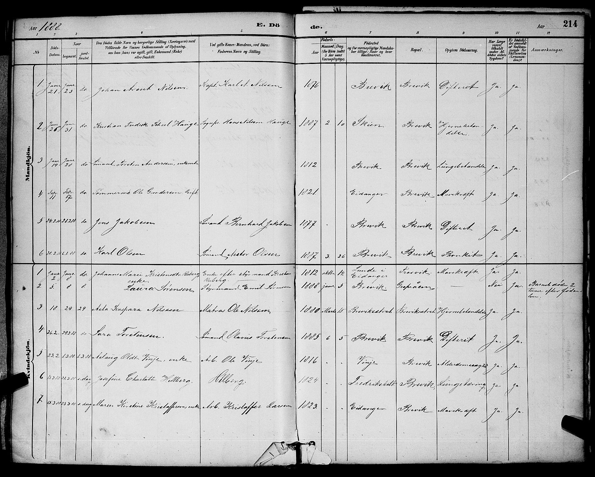 SAKO, Brevik kirkebøker, G/Ga/L0004: Klokkerbok nr. 4, 1882-1900, s. 214
