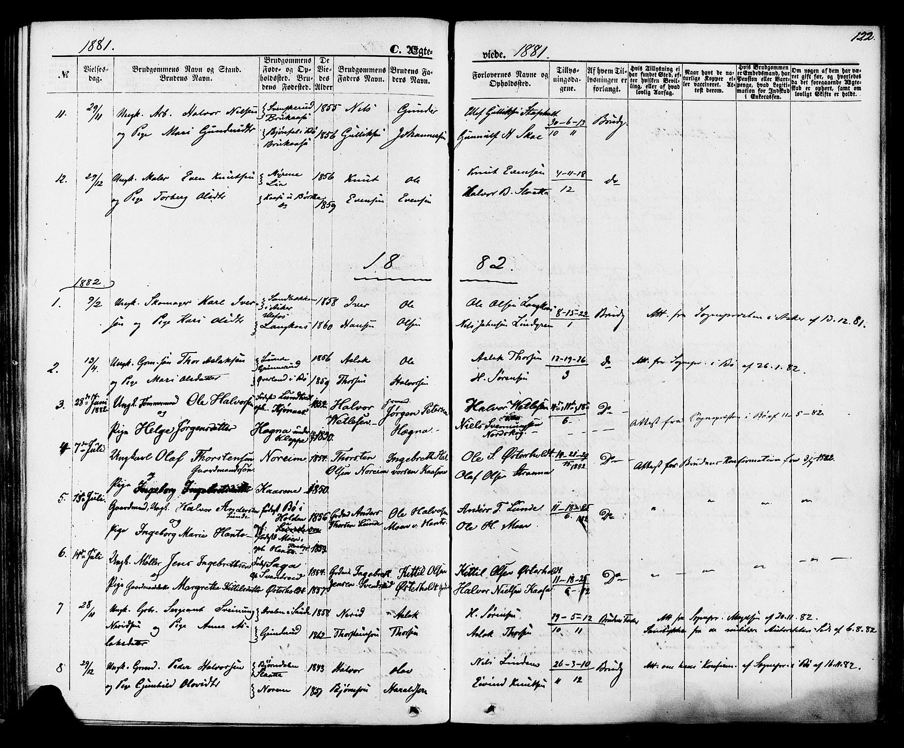 SAKO, Lunde kirkebøker, F/Fa/L0001: Ministerialbok nr. I 1, 1866-1883, s. 122