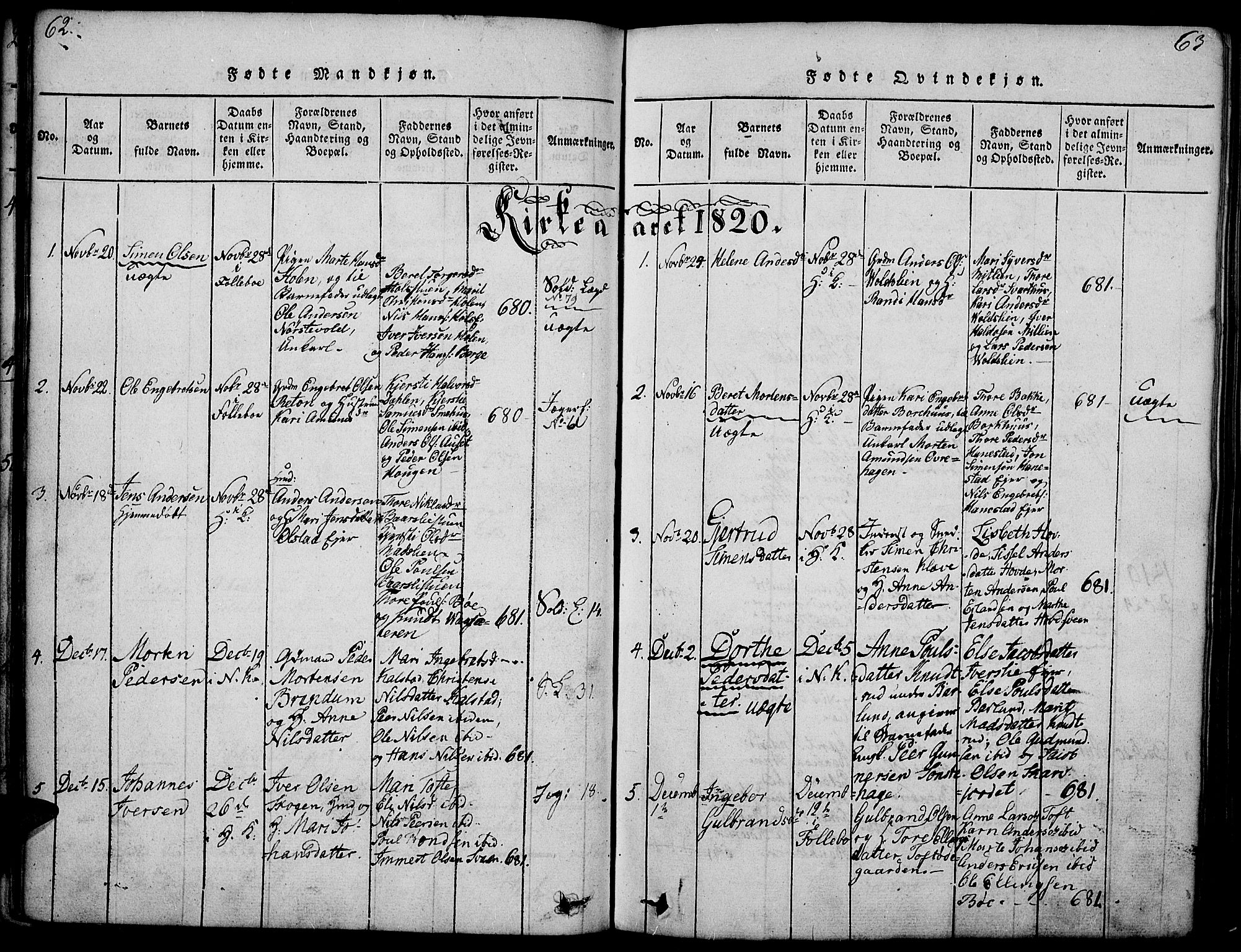 SAH, Gausdal prestekontor, Ministerialbok nr. 5, 1817-1829, s. 62-63