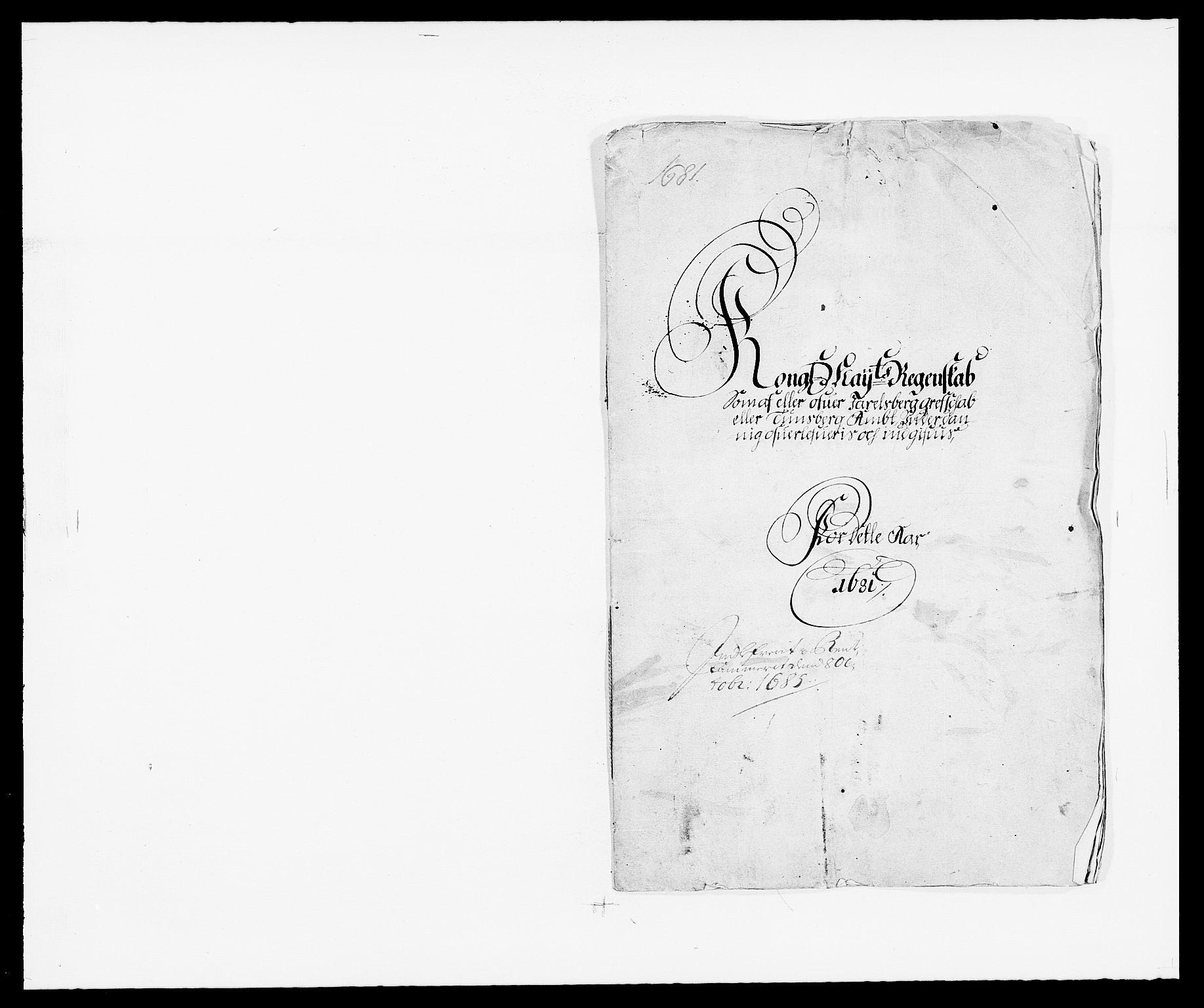 RA, Rentekammeret inntil 1814, Reviderte regnskaper, Fogderegnskap, R32/L1850: Fogderegnskap Jarlsberg grevskap, 1681, s. 1