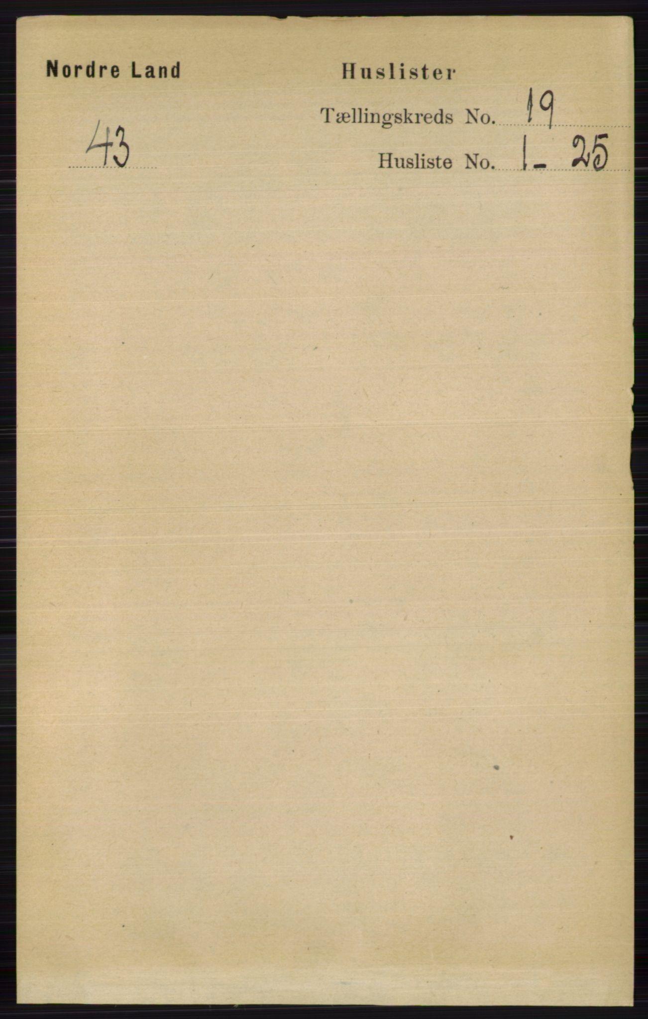 RA, Folketelling 1891 for 0538 Nordre Land herred, 1891, s. 4593