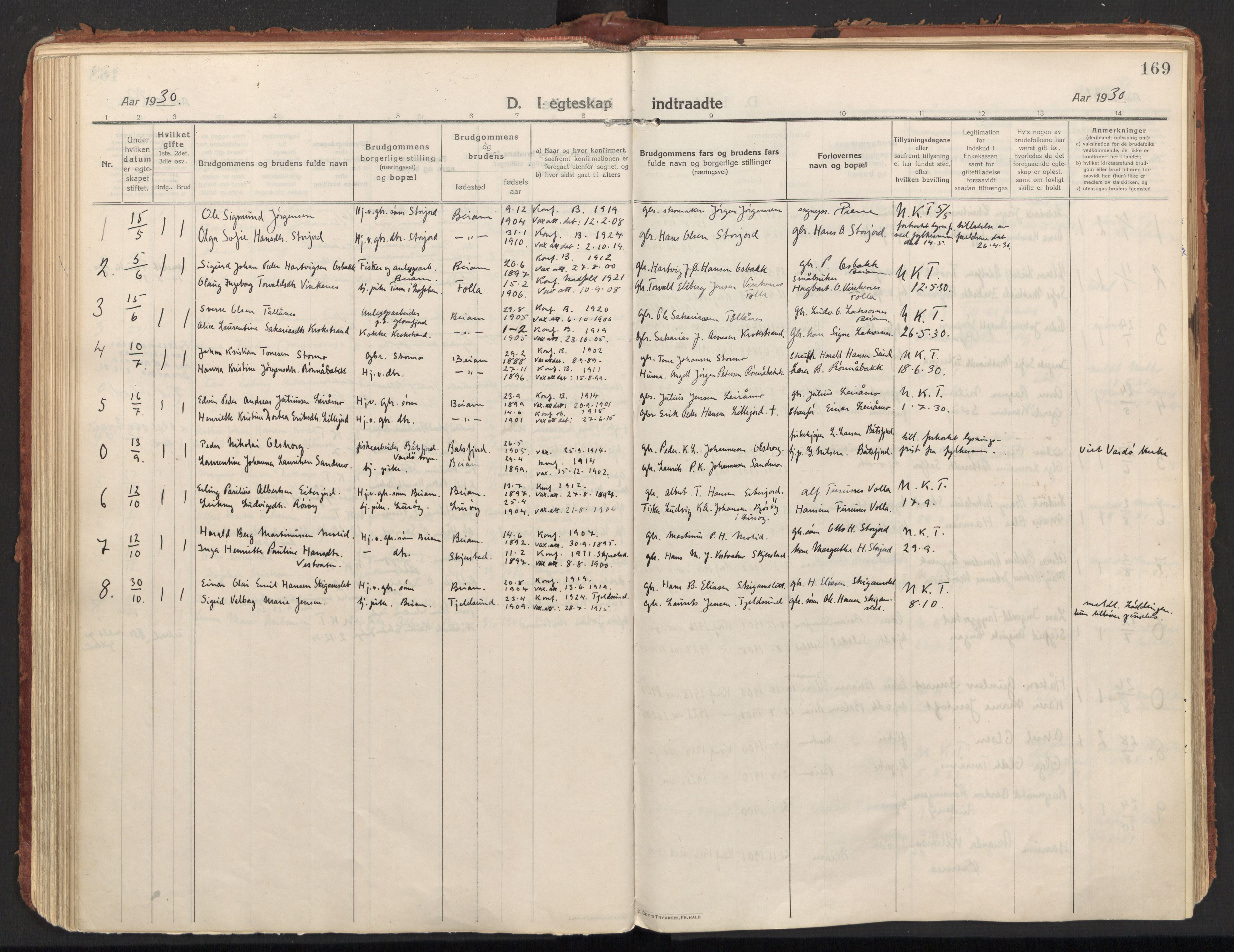 SAT, Ministerialprotokoller, klokkerbøker og fødselsregistre - Nordland, 846/L0650: Ministerialbok nr. 846A08, 1916-1935, s. 169