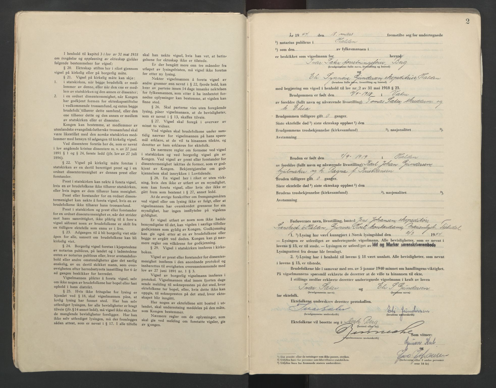 SAO, Idd og Marker sorenskriveri, L/Lc/L0001: Vigselsbøker, 1944-1945, s. 2