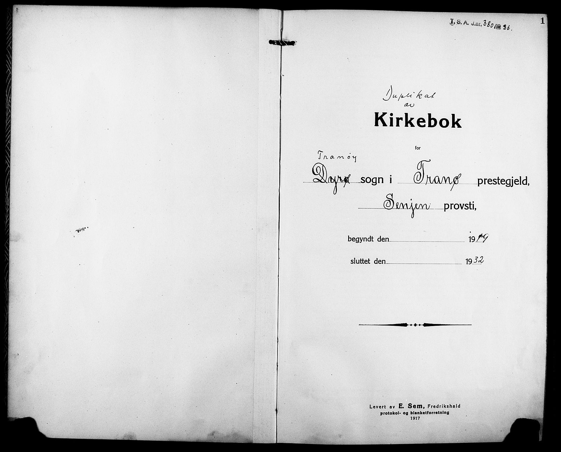 SATØ, Tranøy sokneprestkontor, I/Ia/Iab/L0006klokker: Klokkerbok nr. 6, 1919-1932, s. 1