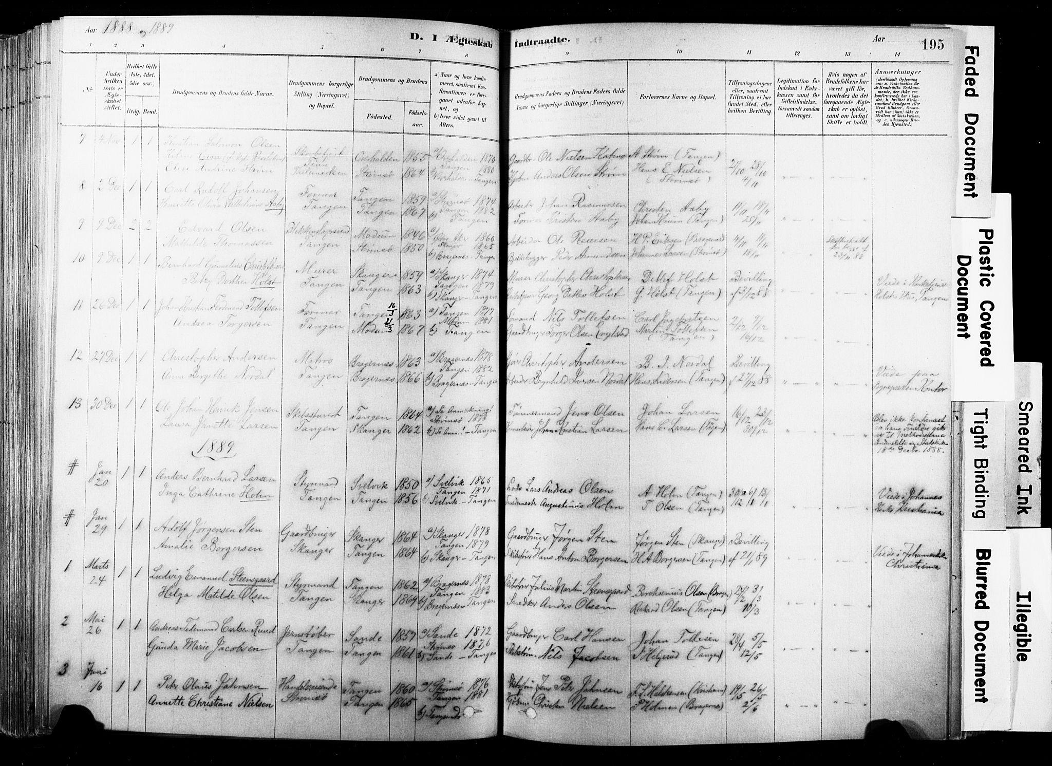 SAKO, Strømsø kirkebøker, F/Fb/L0006: Ministerialbok nr. II 6, 1879-1910, s. 195