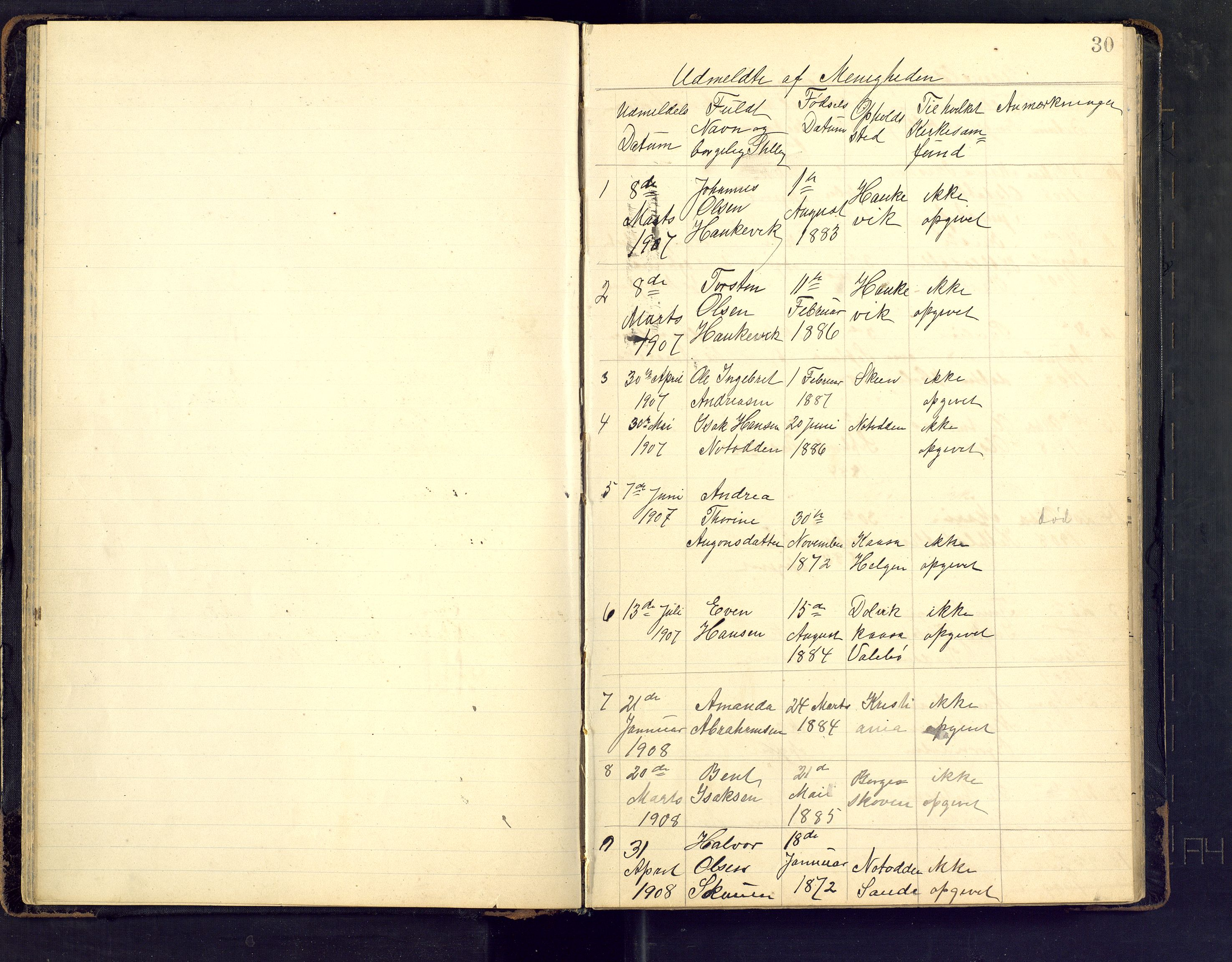 SAKO, Den evangeliske lutherske frimenighet (SAKO), Dissenterprotokoll nr. Fa/L0002, 1906-1922, s. 30