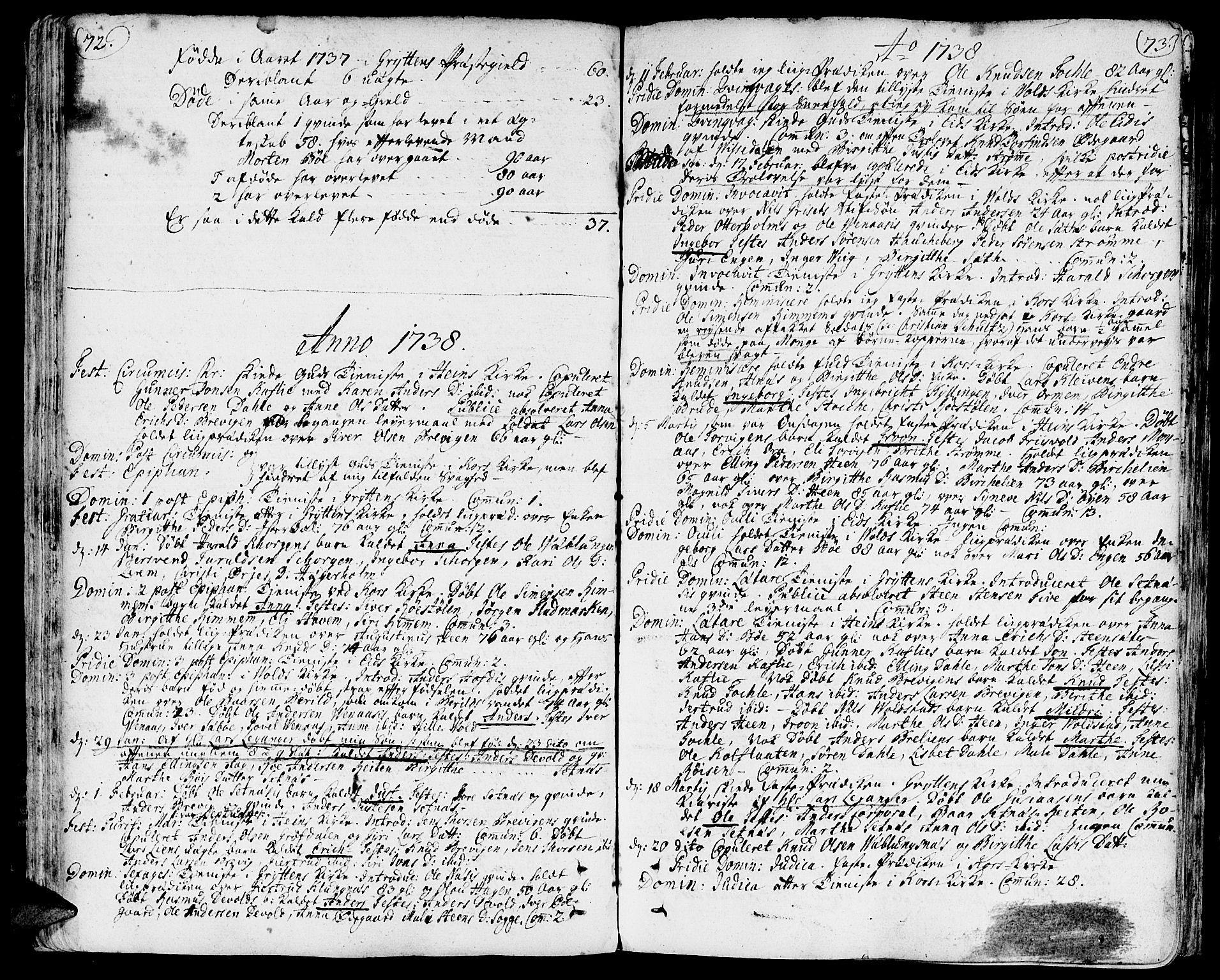 SAT, Ministerialprotokoller, klokkerbøker og fødselsregistre - Møre og Romsdal, 544/L0568: Ministerialbok nr. 544A01, 1725-1763, s. 72-73