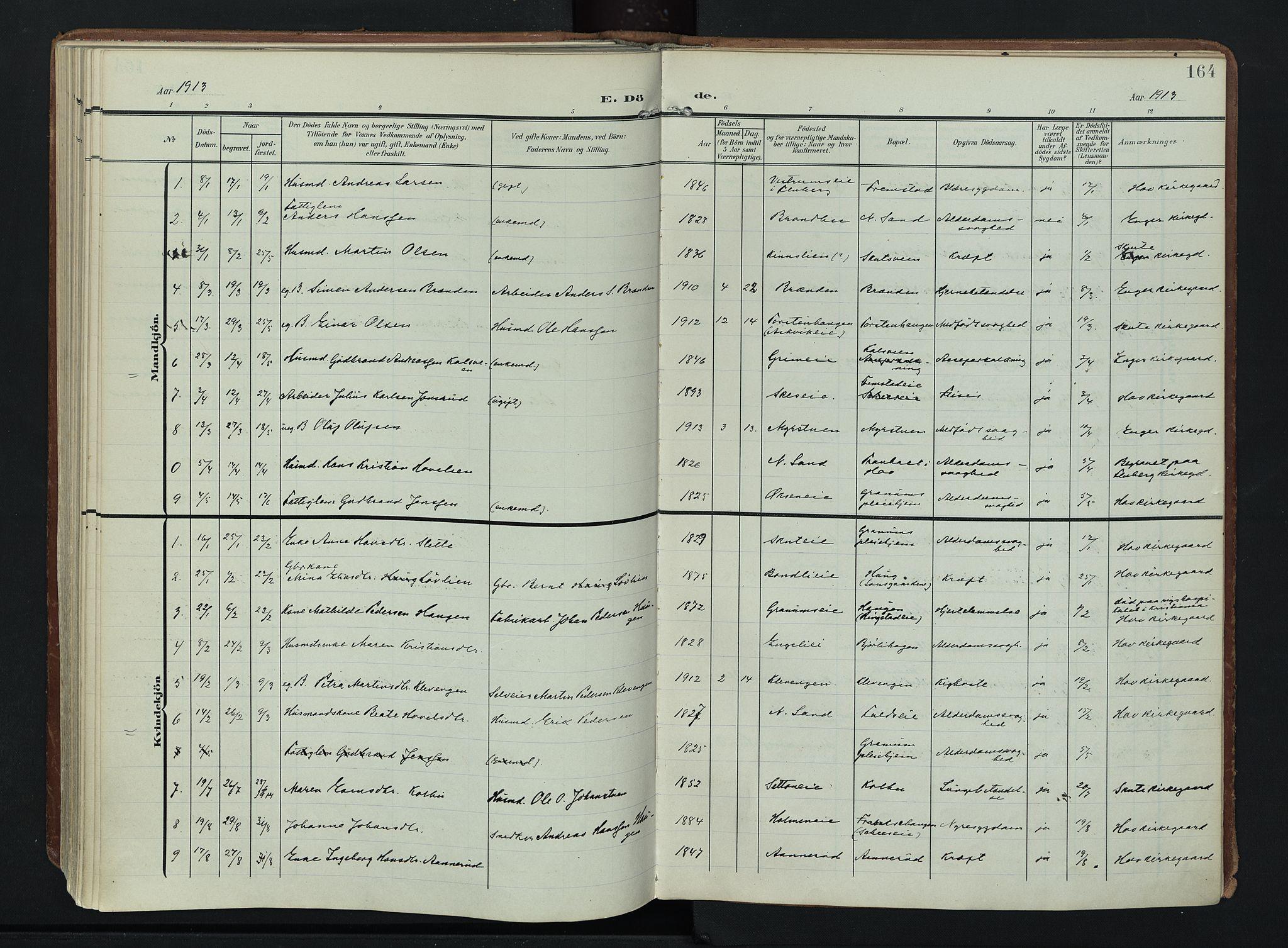 SAH, Søndre Land prestekontor, K/L0007: Ministerialbok nr. 7, 1905-1914, s. 164
