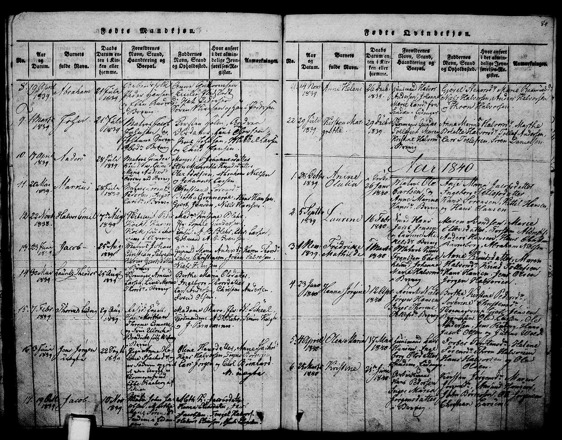 SAKO, Brevik kirkebøker, F/Fa/L0004: Ministerialbok nr. 4, 1814-1846, s. 84