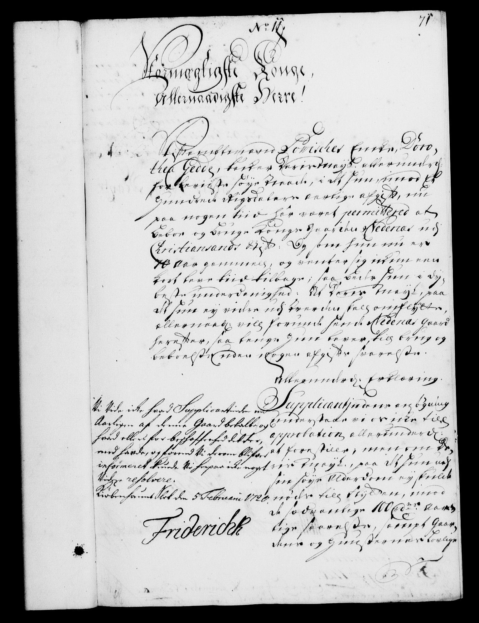 RA, Rentekammeret, Kammerkanselliet, G/Gf/Gfa/L0002: Norsk relasjons- og resolusjonsprotokoll (merket RK 52.2), 1720, s. 71