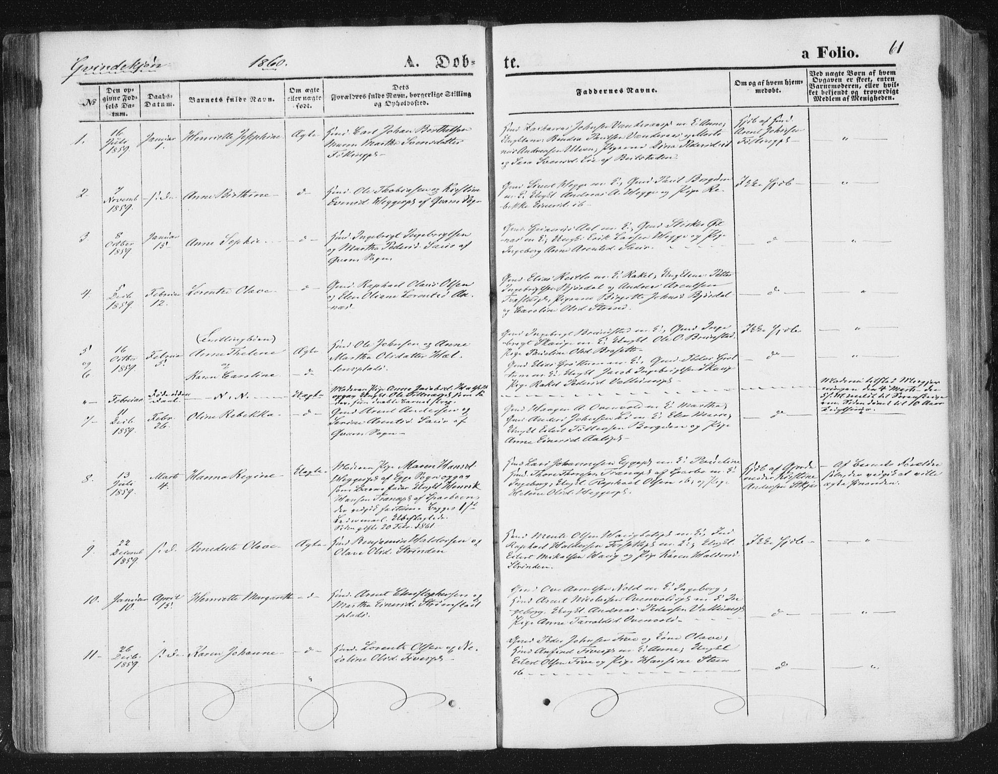 SAT, Ministerialprotokoller, klokkerbøker og fødselsregistre - Nord-Trøndelag, 746/L0447: Ministerialbok nr. 746A06, 1860-1877, s. 61