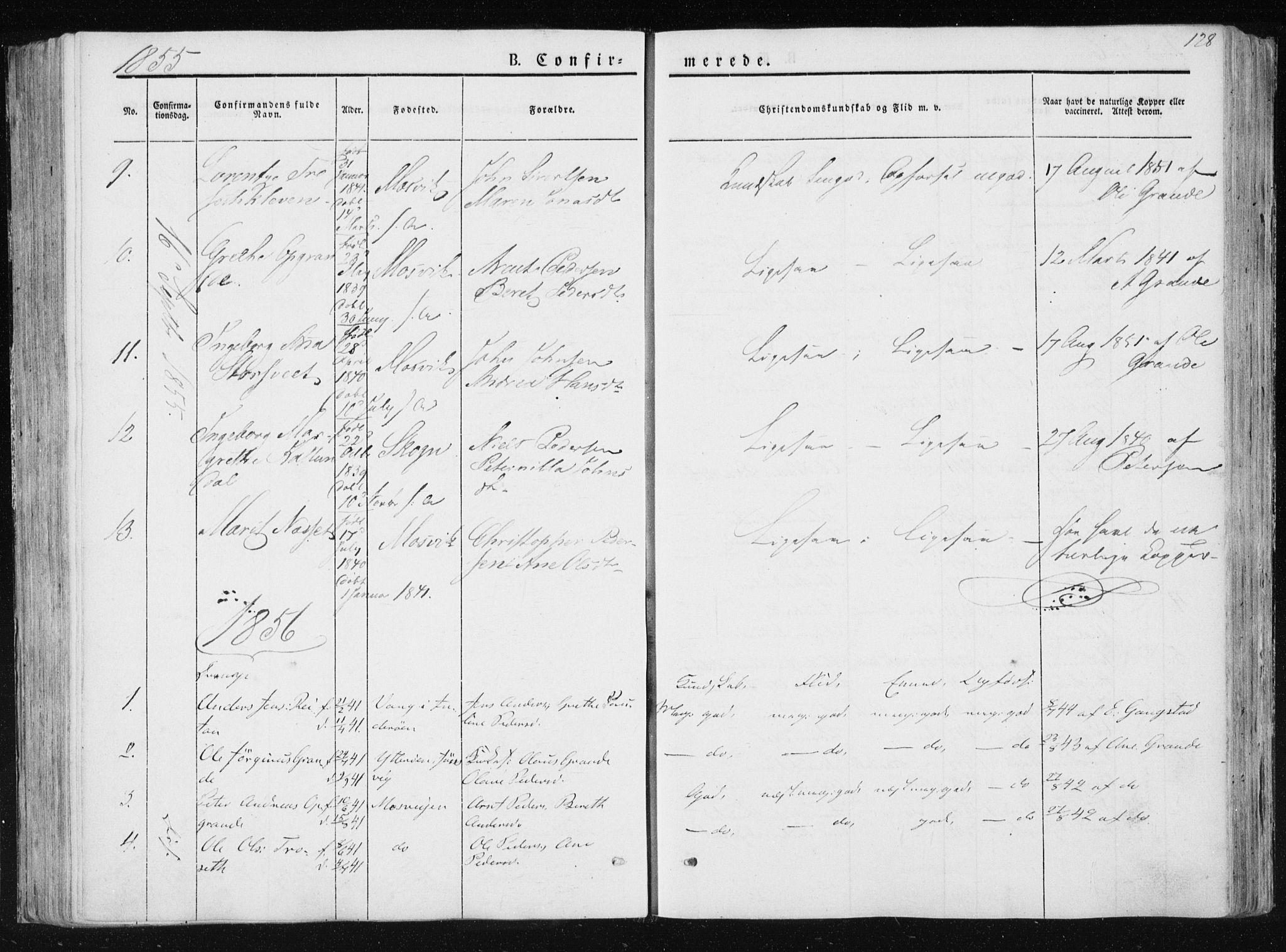 SAT, Ministerialprotokoller, klokkerbøker og fødselsregistre - Nord-Trøndelag, 733/L0323: Ministerialbok nr. 733A02, 1843-1870, s. 128