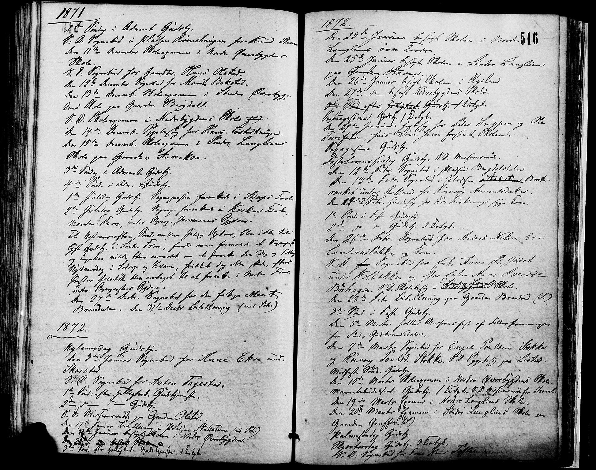SAH, Sør-Fron prestekontor, H/Ha/Haa/L0002: Ministerialbok nr. 2, 1864-1880, s. 516