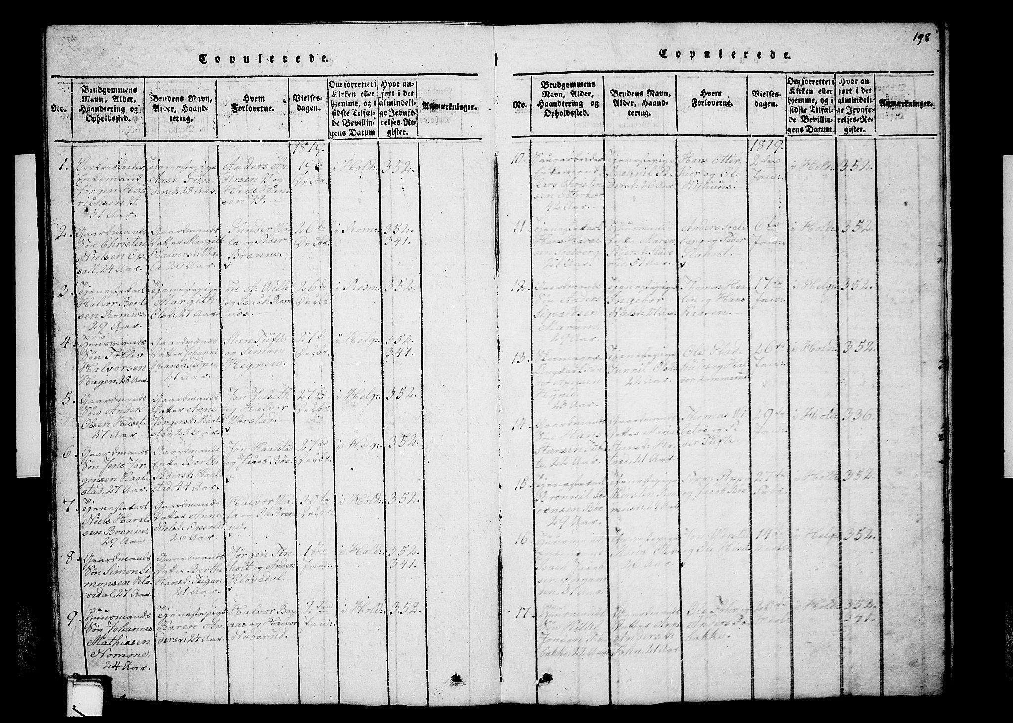 SAKO, Holla kirkebøker, G/Ga/L0001: Klokkerbok nr. I 1, 1814-1830, s. 198