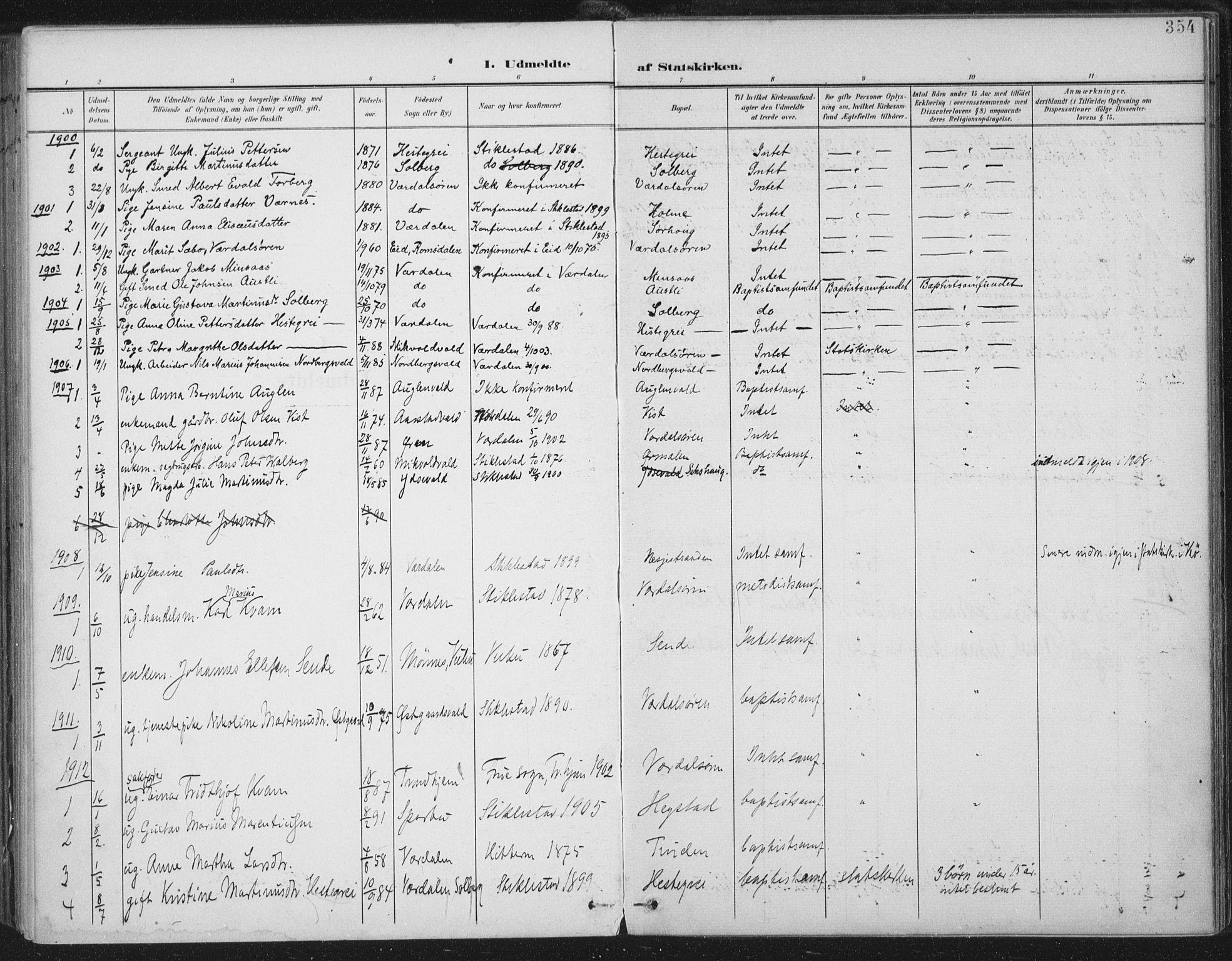 SAT, Ministerialprotokoller, klokkerbøker og fødselsregistre - Nord-Trøndelag, 723/L0246: Ministerialbok nr. 723A15, 1900-1917, s. 354