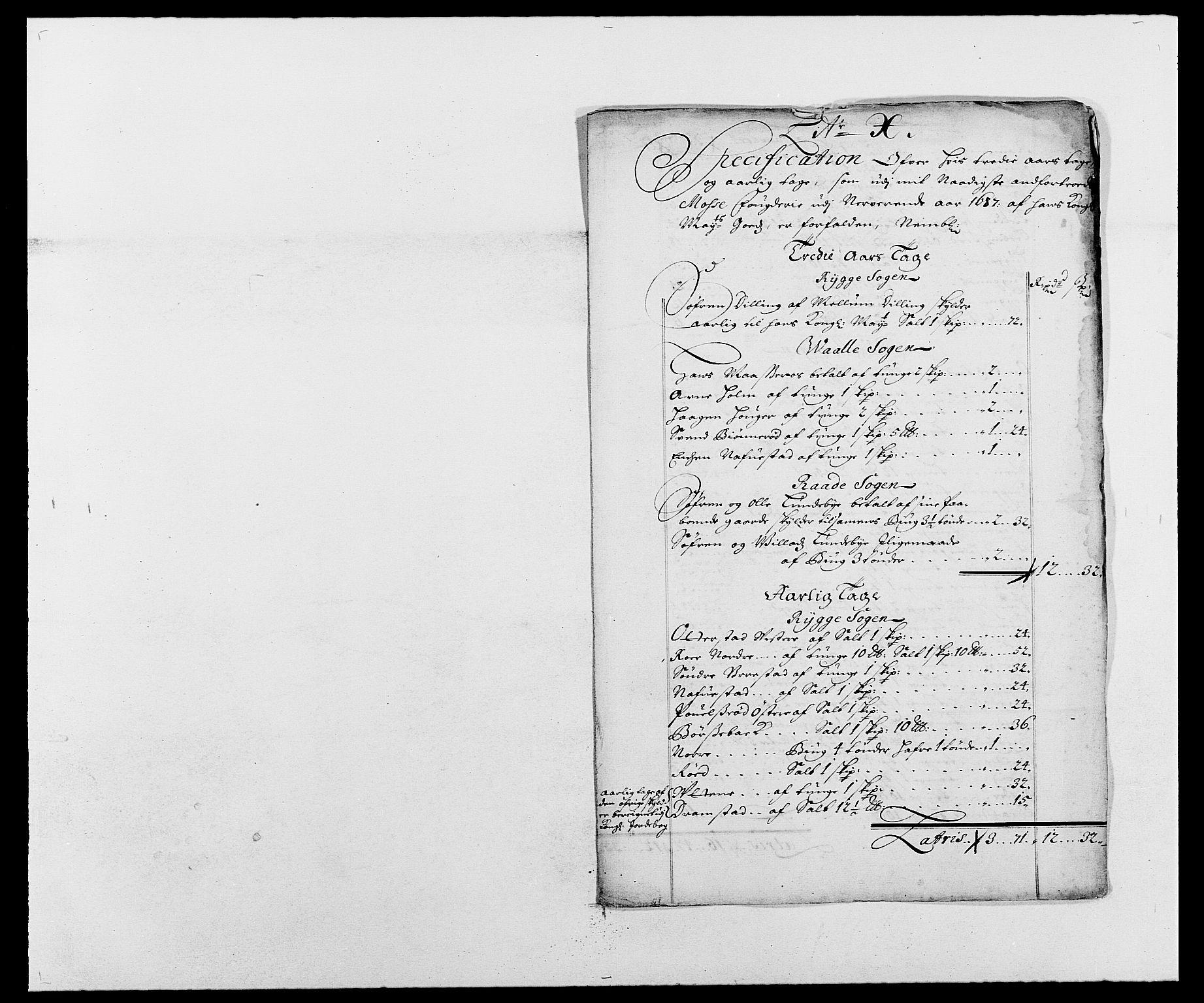 RA, Rentekammeret inntil 1814, Reviderte regnskaper, Fogderegnskap, R02/L0105: Fogderegnskap Moss og Verne kloster, 1685-1687, s. 320