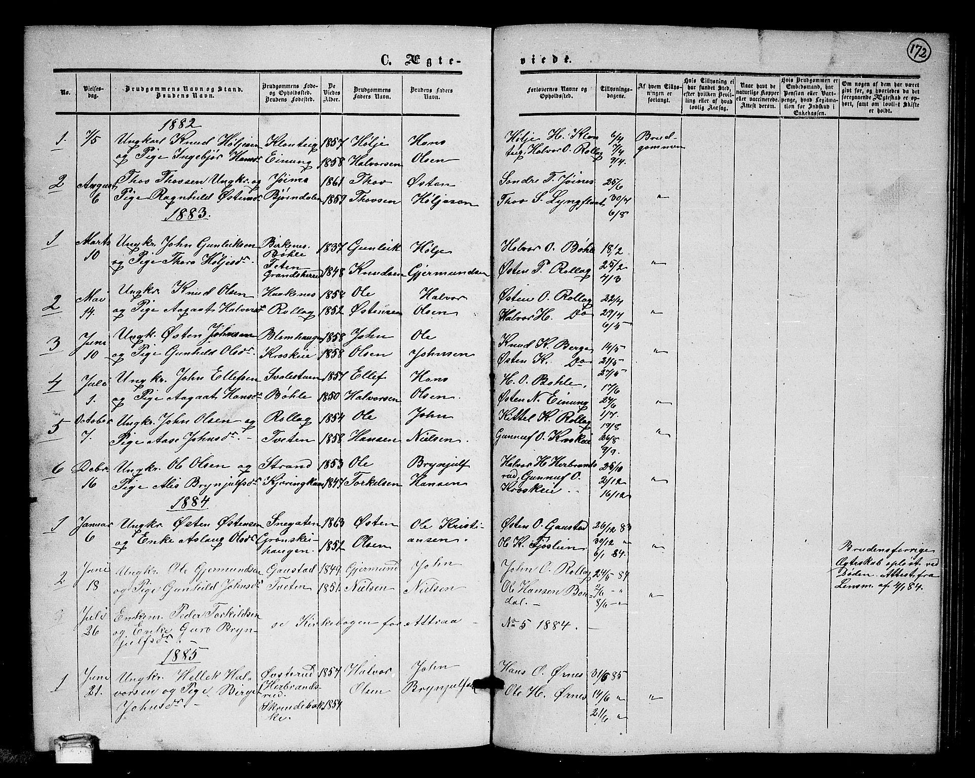 SAKO, Tinn kirkebøker, G/Gb/L0002: Klokkerbok nr. II 2, 1851-1886, s. 172