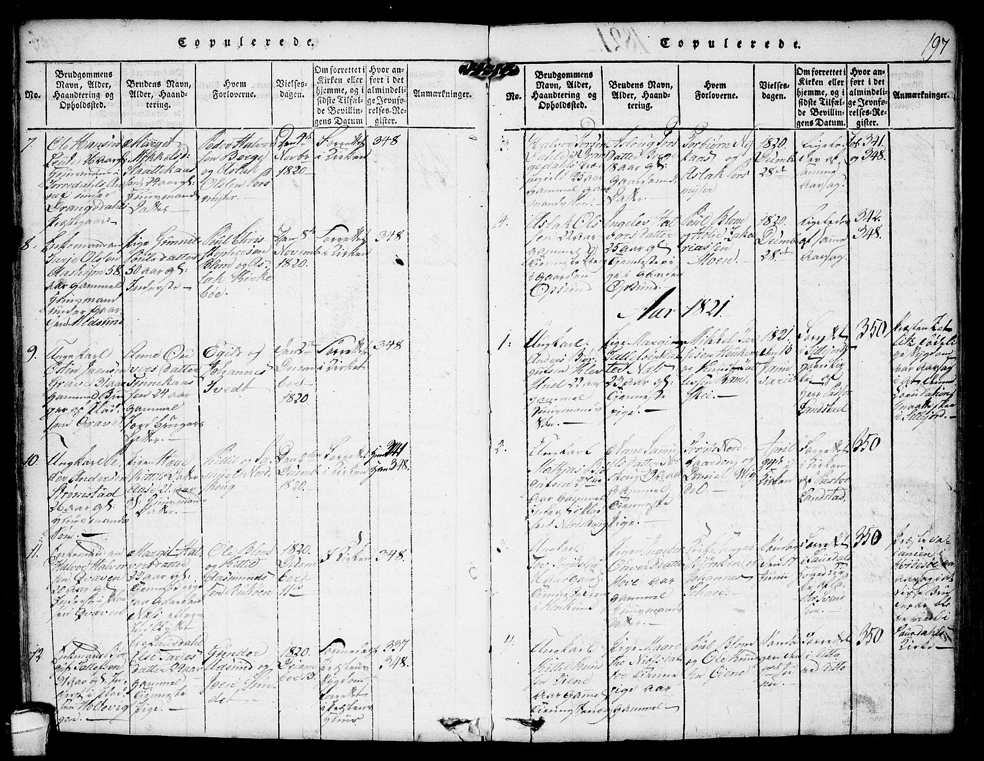 SAKO, Kviteseid kirkebøker, F/Fa/L0005: Ministerialbok nr. I 5, 1815-1836, s. 197