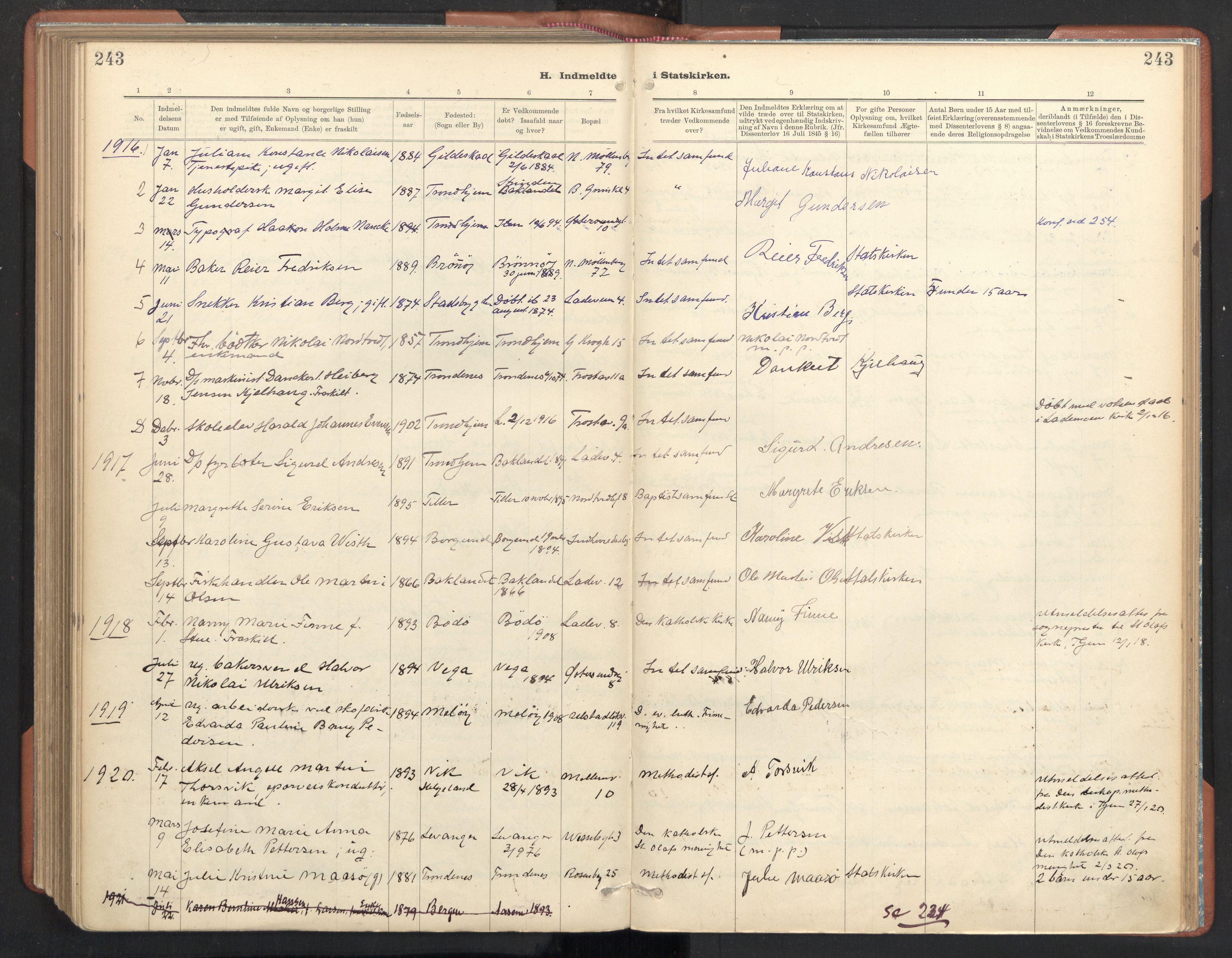SAT, Ministerialprotokoller, klokkerbøker og fødselsregistre - Sør-Trøndelag, 605/L0244: Ministerialbok nr. 605A06, 1908-1954, s. 243