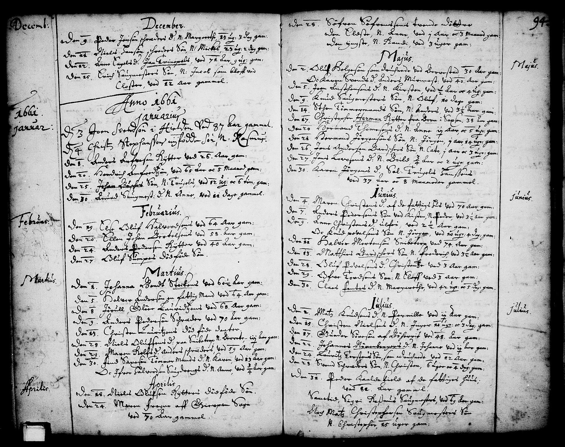 SAKO, Skien kirkebøker, F/Fa/L0001: Ministerialbok nr. 1, 1659-1679, s. 94