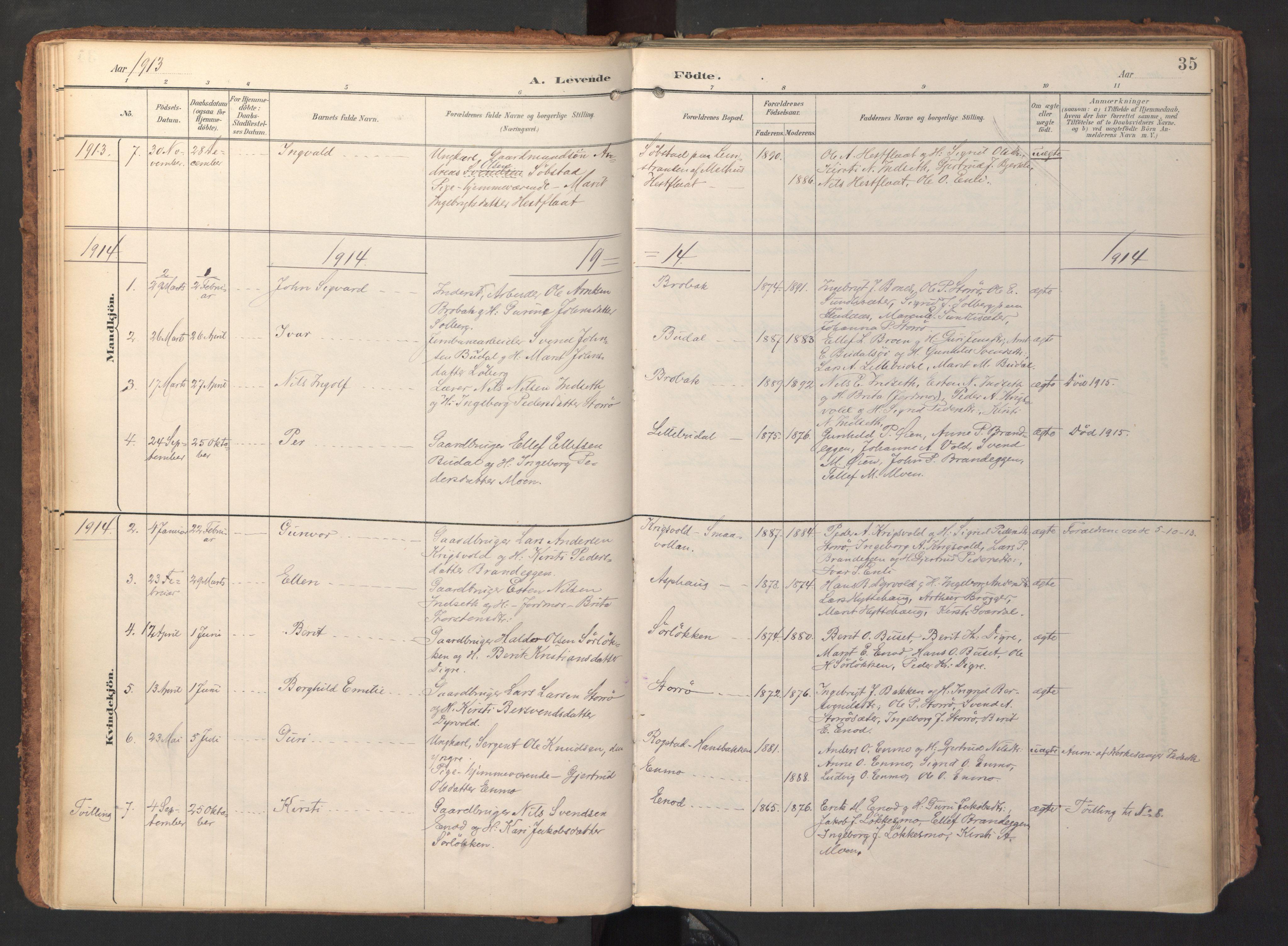 SAT, Ministerialprotokoller, klokkerbøker og fødselsregistre - Sør-Trøndelag, 690/L1050: Ministerialbok nr. 690A01, 1889-1929, s. 35