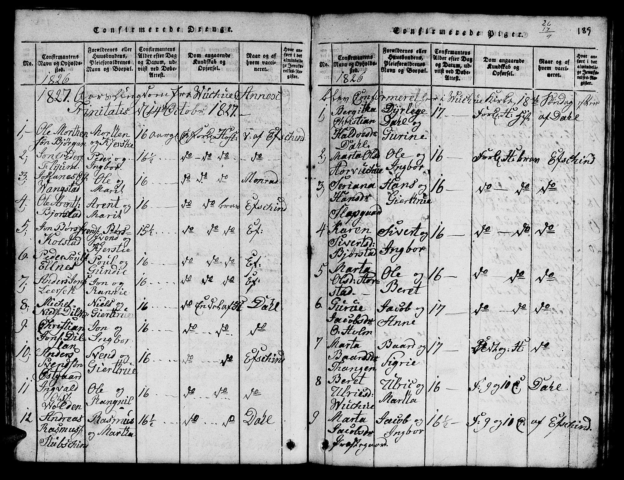 SAT, Ministerialprotokoller, klokkerbøker og fødselsregistre - Nord-Trøndelag, 724/L0265: Klokkerbok nr. 724C01, 1816-1845, s. 189