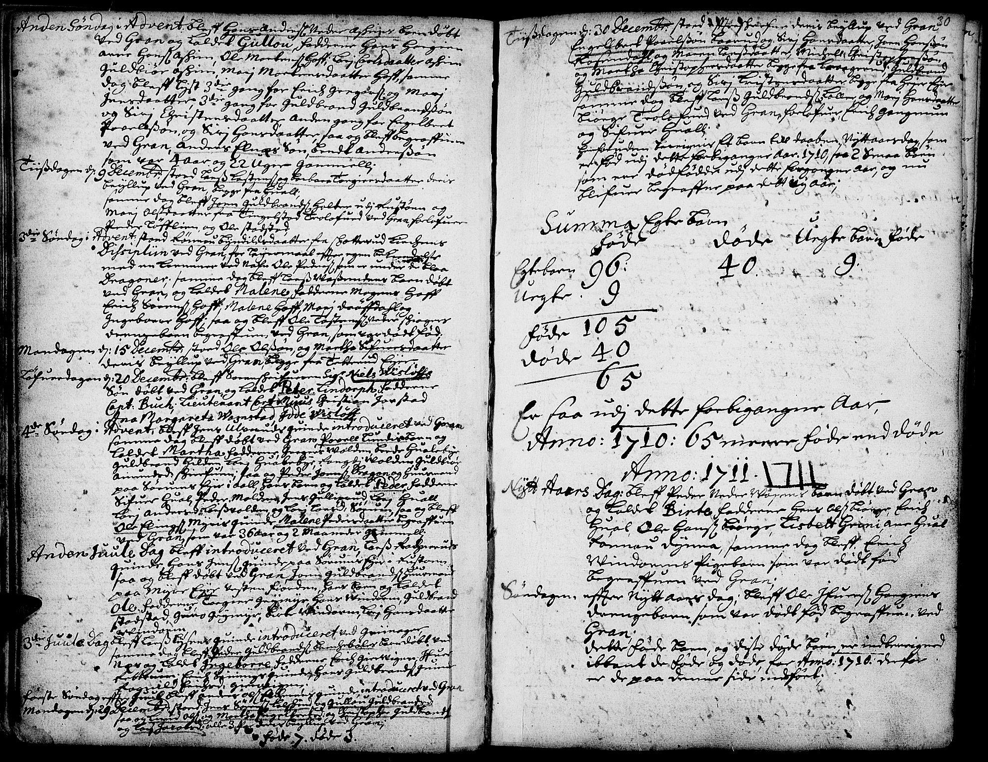 SAH, Gran prestekontor, Ministerialbok nr. 1, 1707-1731, s. 30