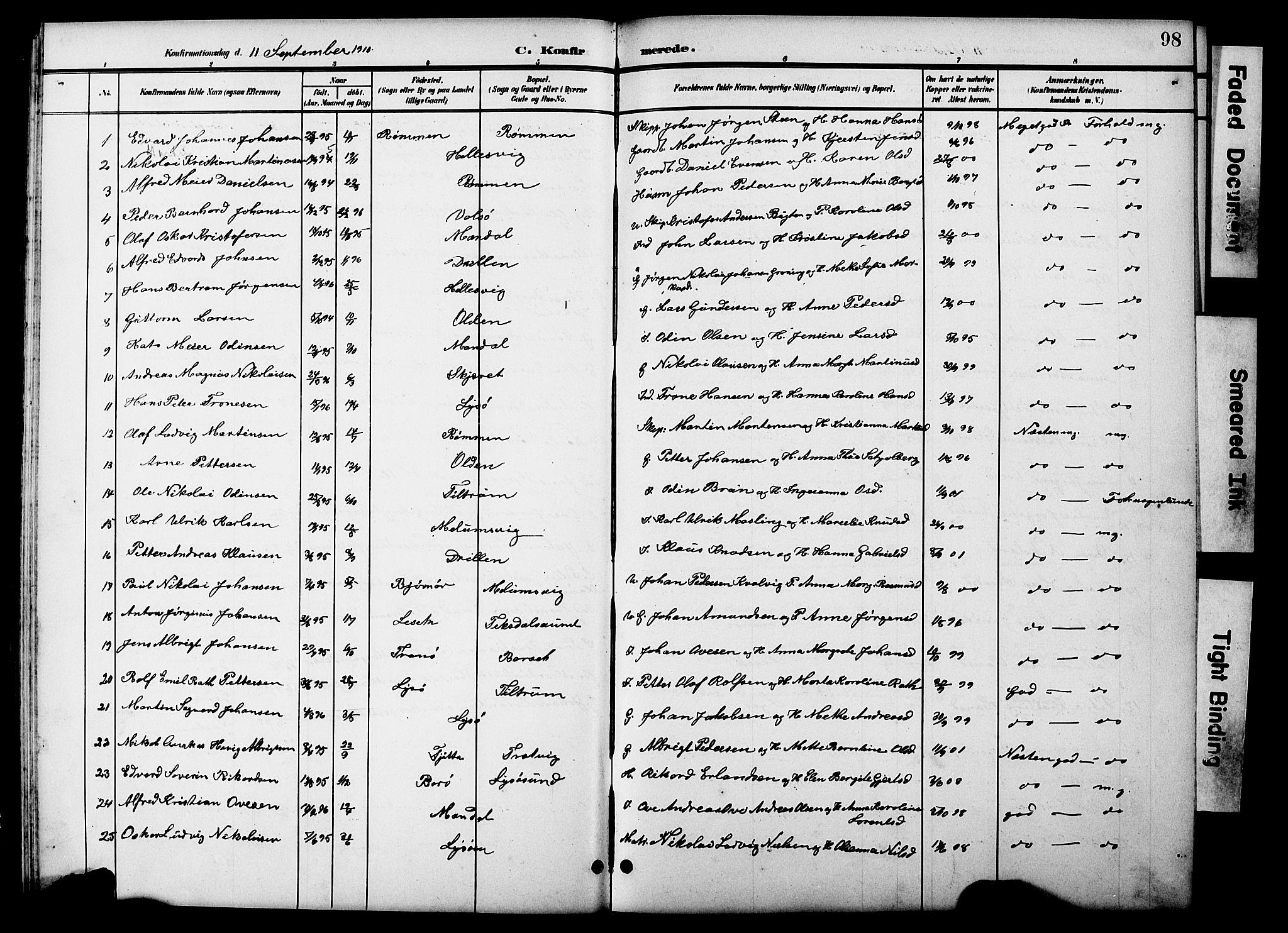 SAT, Ministerialprotokoller, klokkerbøker og fødselsregistre - Sør-Trøndelag, 654/L0666: Klokkerbok nr. 654C02, 1901-1925, s. 98