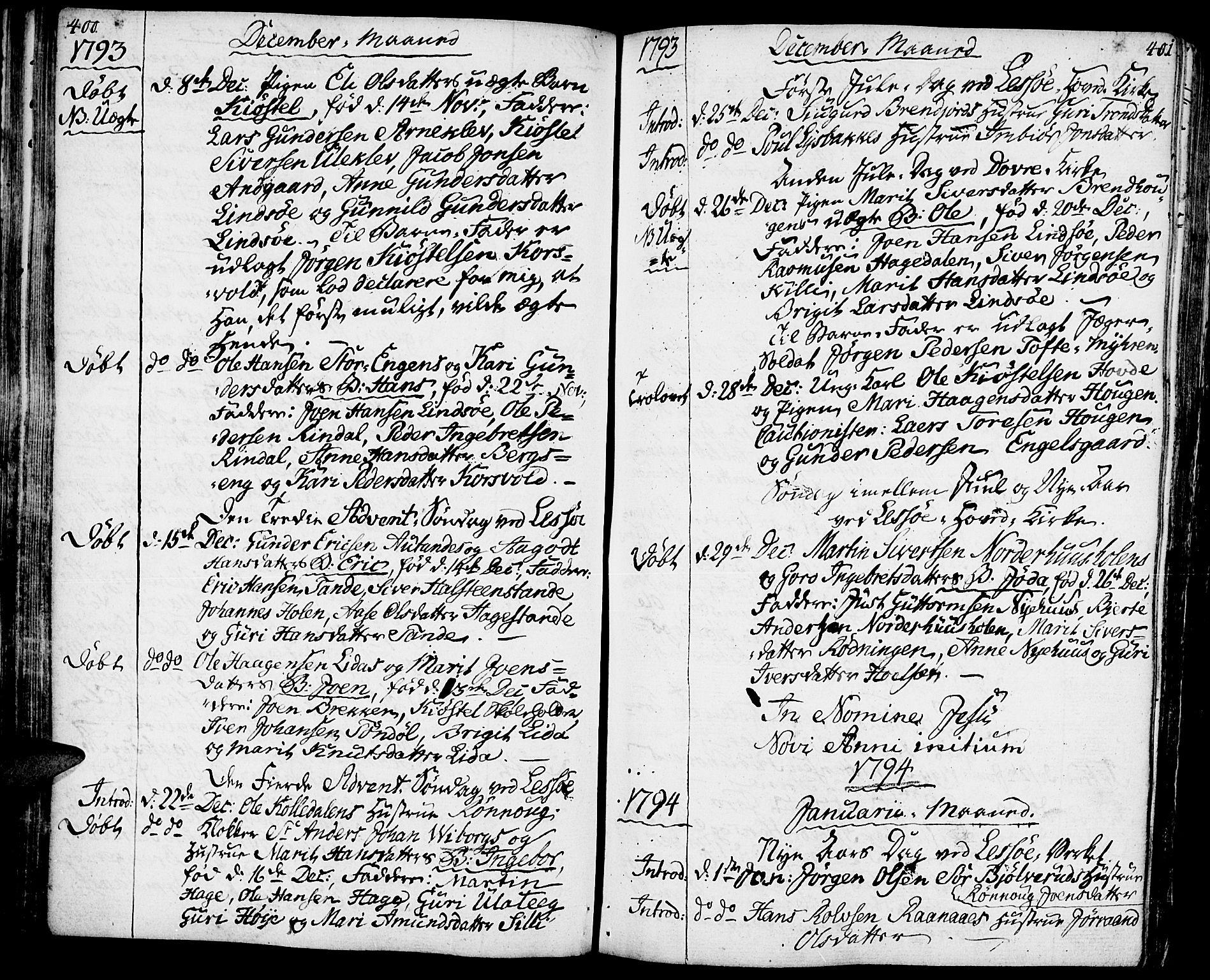SAH, Lesja prestekontor, Ministerialbok nr. 3, 1777-1819, s. 400-401