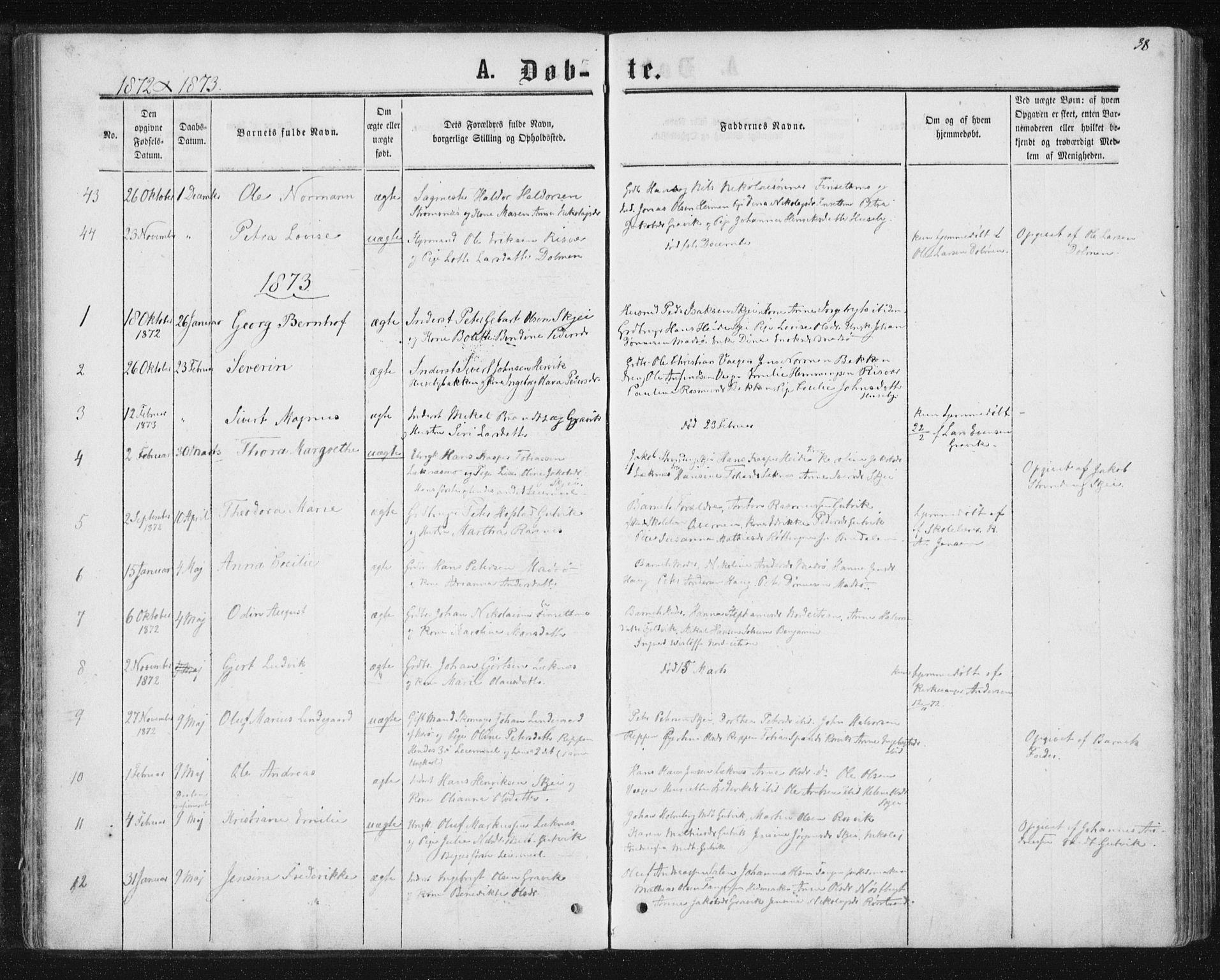 SAT, Ministerialprotokoller, klokkerbøker og fødselsregistre - Nord-Trøndelag, 788/L0696: Ministerialbok nr. 788A03, 1863-1877, s. 38