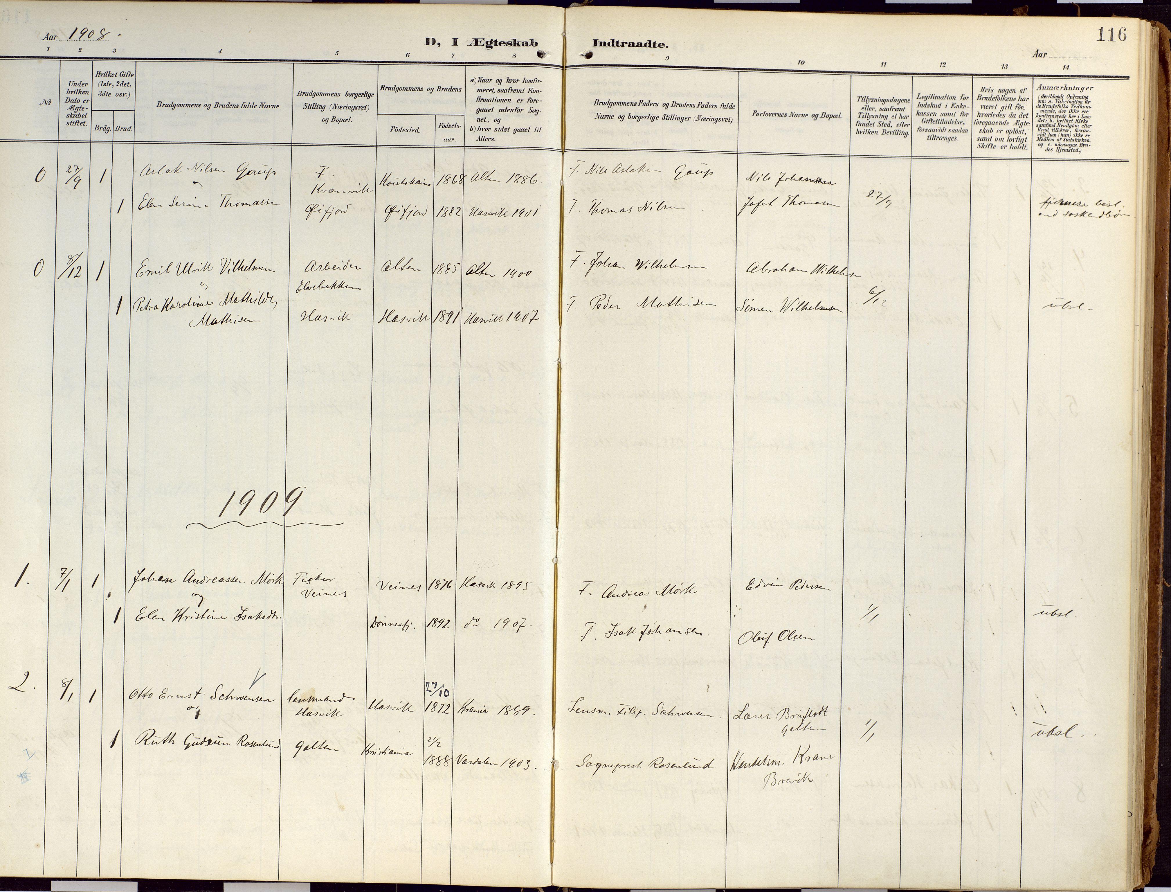 SATØ, Loppa sokneprestkontor, H/Ha/L0010kirke: Ministerialbok nr. 10, 1907-1922, s. 116