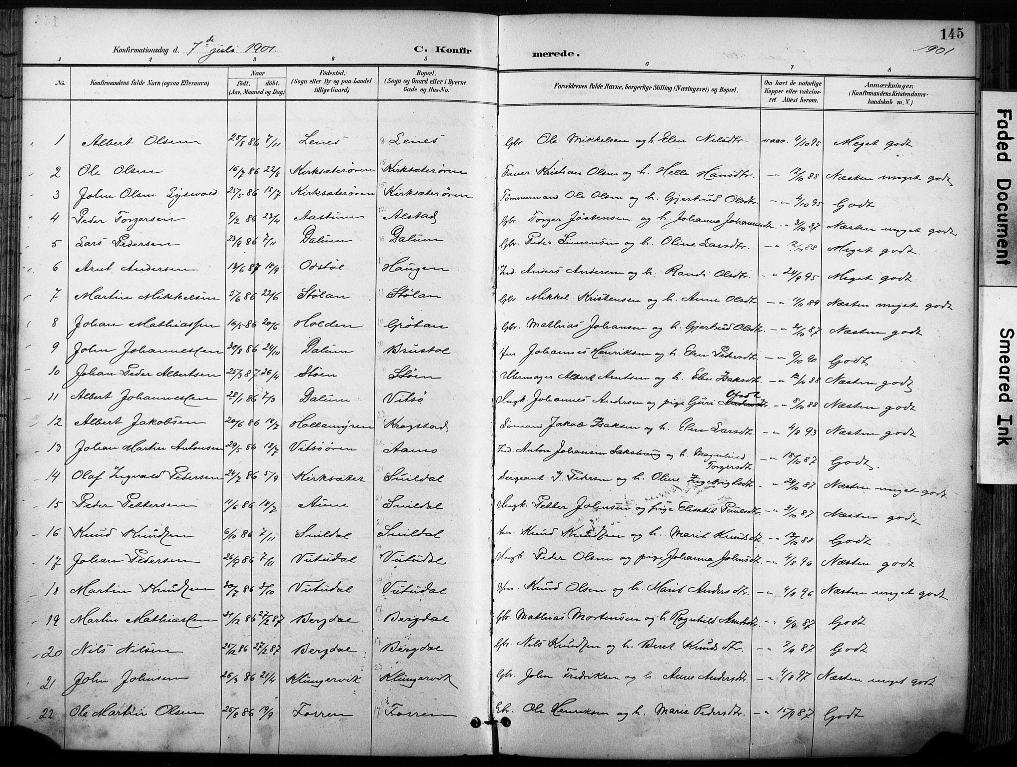 SAT, Ministerialprotokoller, klokkerbøker og fødselsregistre - Sør-Trøndelag, 630/L0497: Ministerialbok nr. 630A10, 1896-1910, s. 145