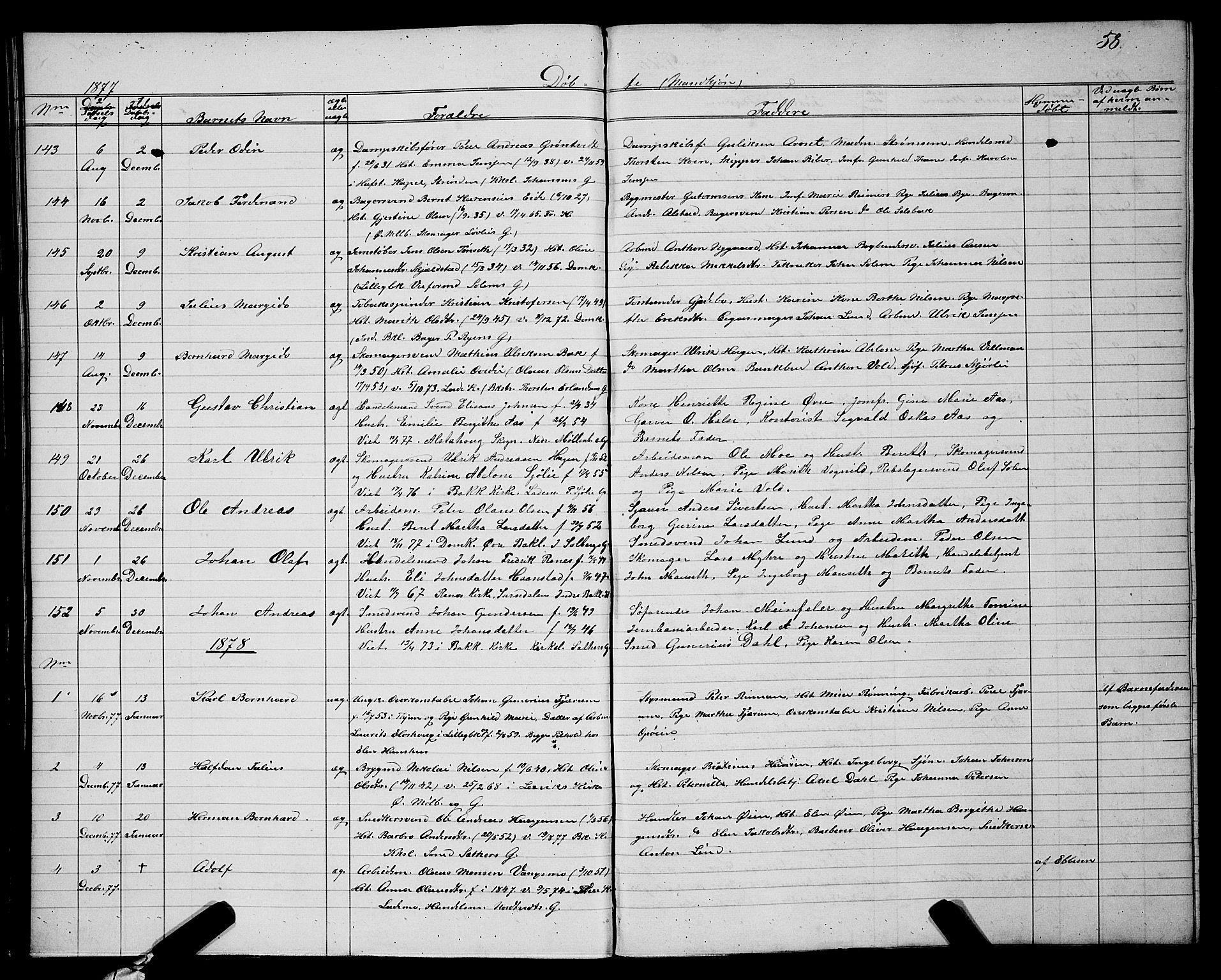 SAT, Ministerialprotokoller, klokkerbøker og fødselsregistre - Sør-Trøndelag, 604/L0220: Klokkerbok nr. 604C03, 1870-1885, s. 58
