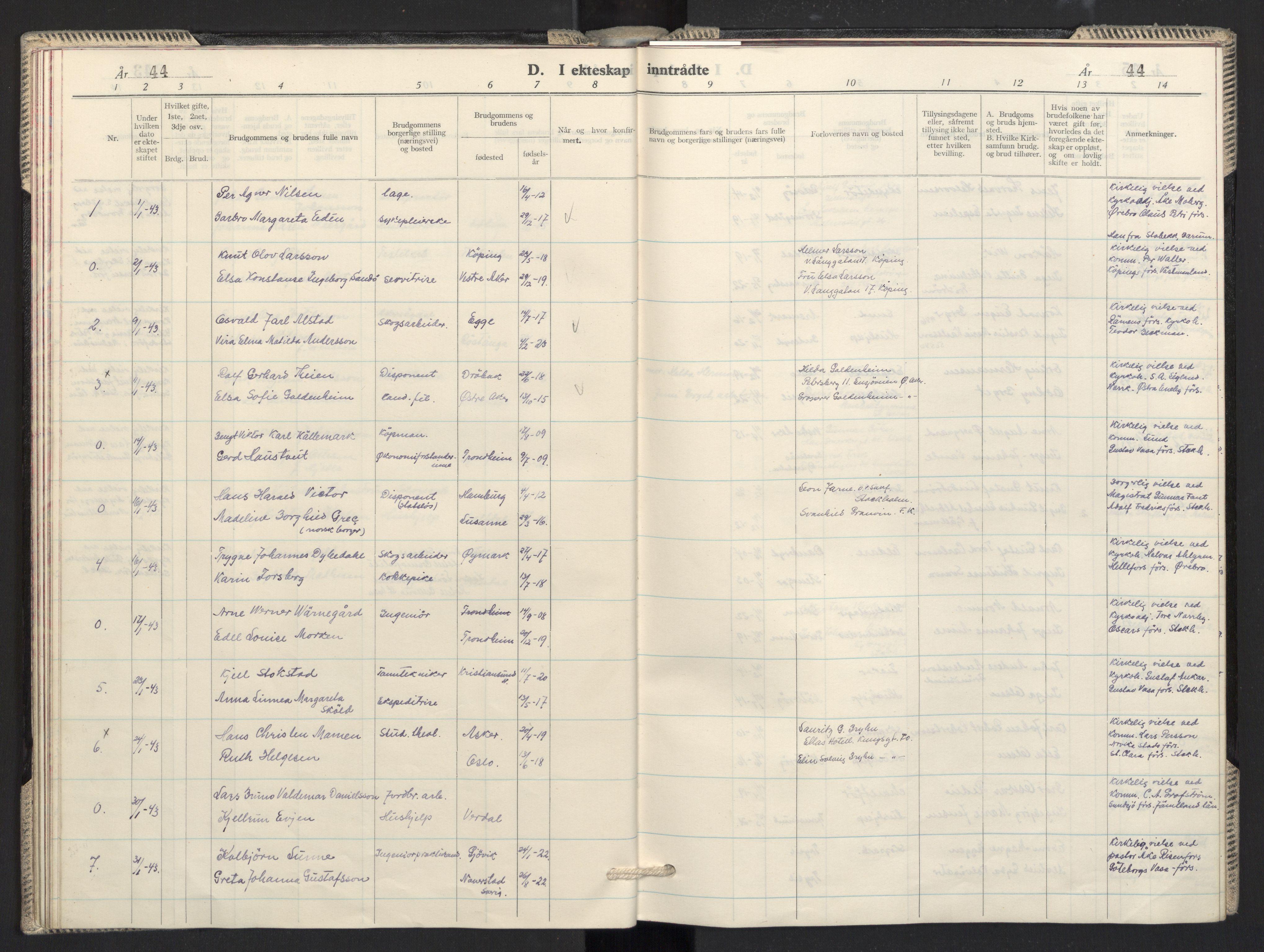 SAO, Prestekontoret i Sverige under okkupasjonen Kirkebøker, F/L0001: Ministerialbok nr. 1, 1941-1945, s. 44