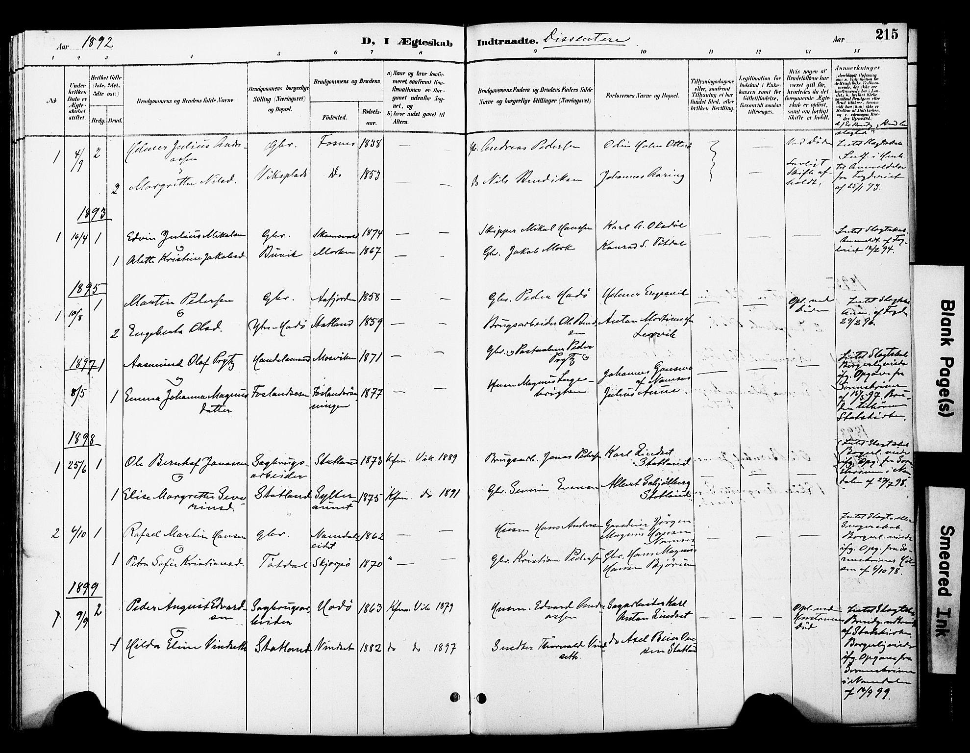 SAT, Ministerialprotokoller, klokkerbøker og fødselsregistre - Nord-Trøndelag, 774/L0628: Ministerialbok nr. 774A02, 1887-1903, s. 215