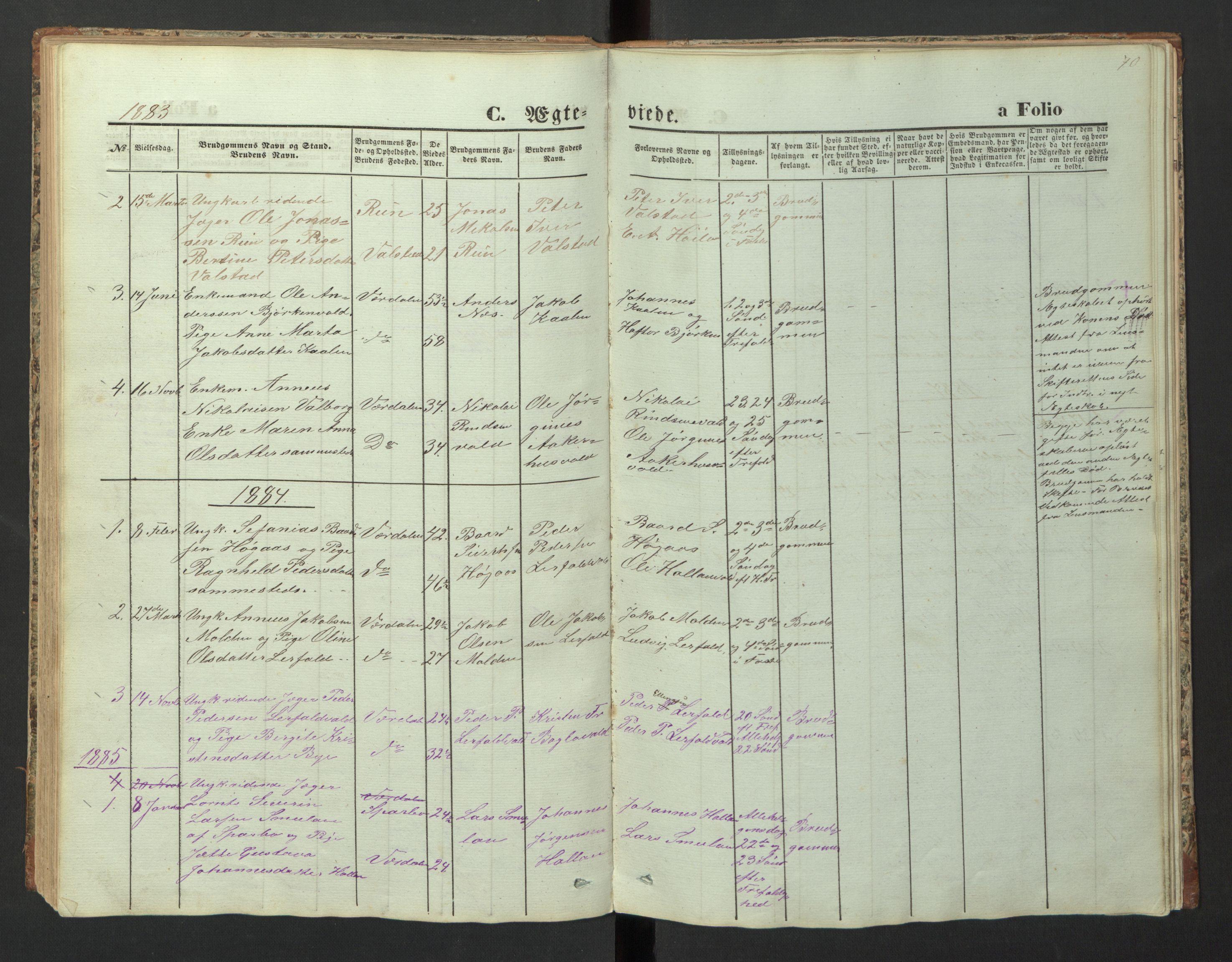SAT, Ministerialprotokoller, klokkerbøker og fødselsregistre - Nord-Trøndelag, 726/L0271: Klokkerbok nr. 726C02, 1869-1897, s. 70