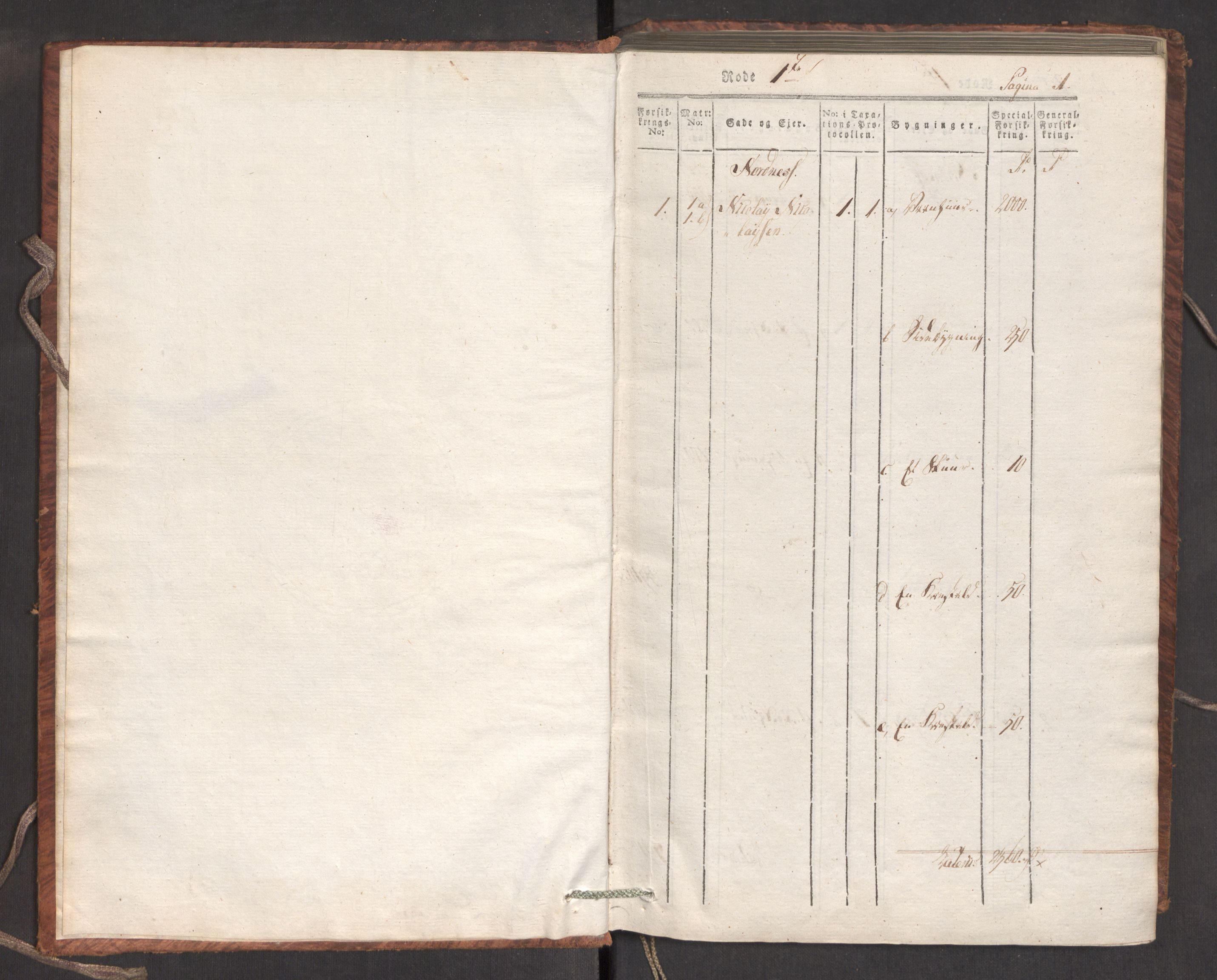 RA, Kommersekollegiet, Brannforsikringskontoret 1767-1814, F/Fa/L0007: Bergen, 1807-1817, s. 1