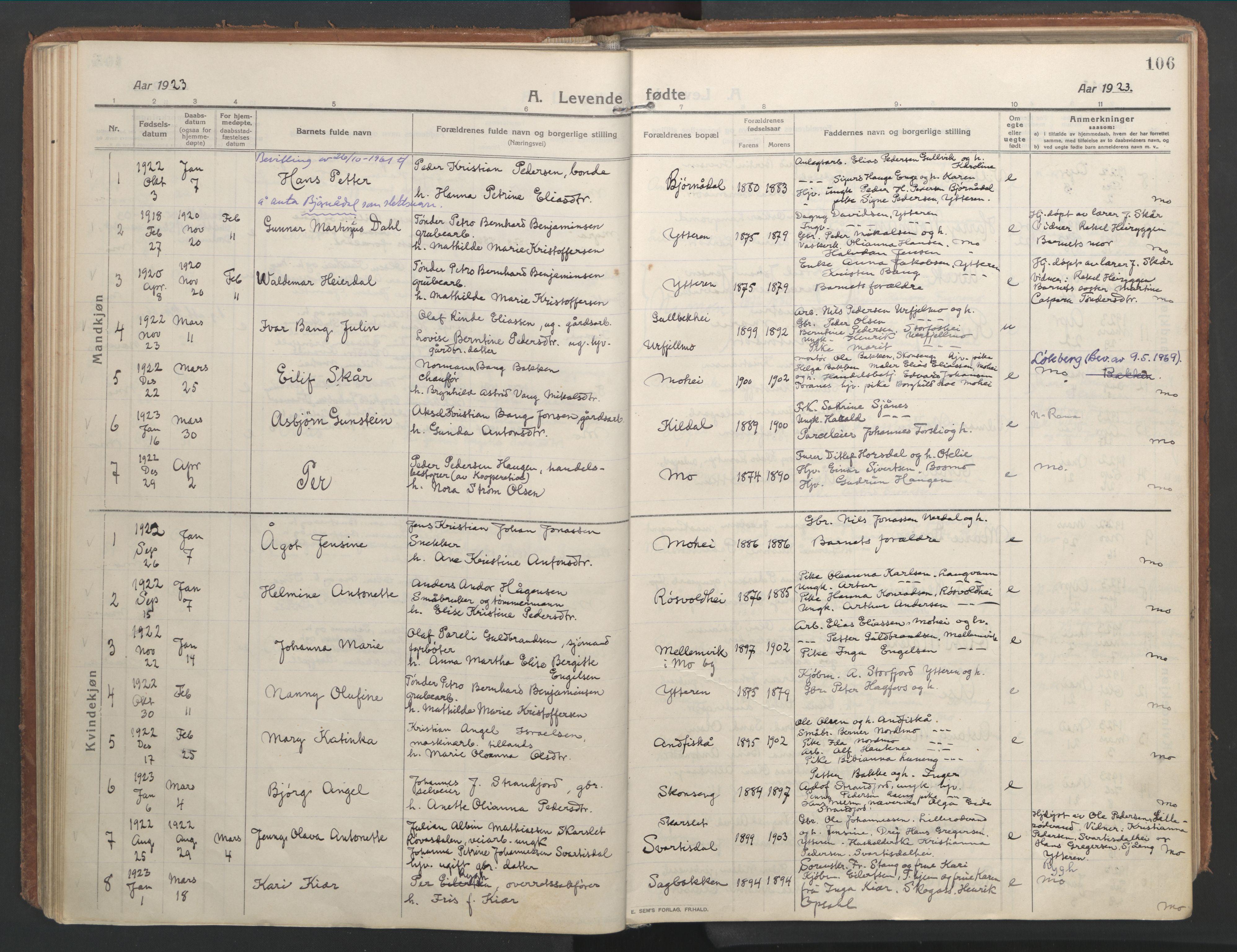 SAT, Ministerialprotokoller, klokkerbøker og fødselsregistre - Nordland, 827/L0404: Ministerialbok nr. 827A16, 1912-1925, s. 106