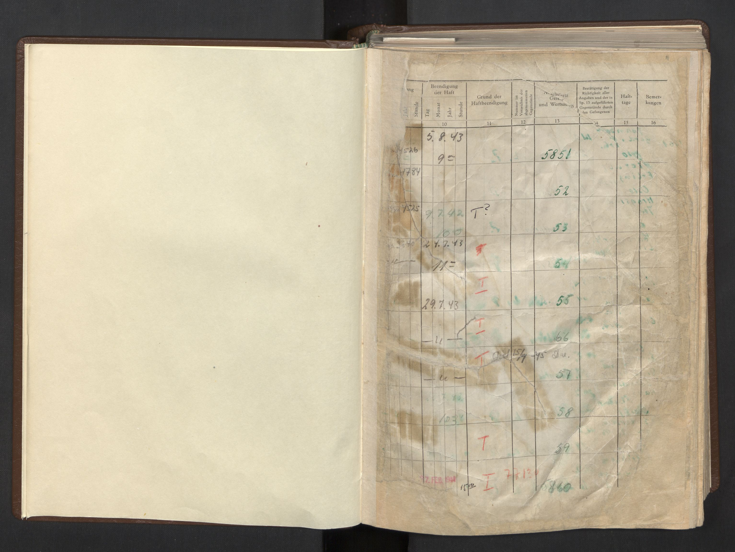 RA, Befehlshaber der Sicherheitspolizei und des SD, F/Fa/Faa/L0005: Fangeprotokoll. - Gefangenen-Buch B. Fangenr. 8201-10100, 1943-1944