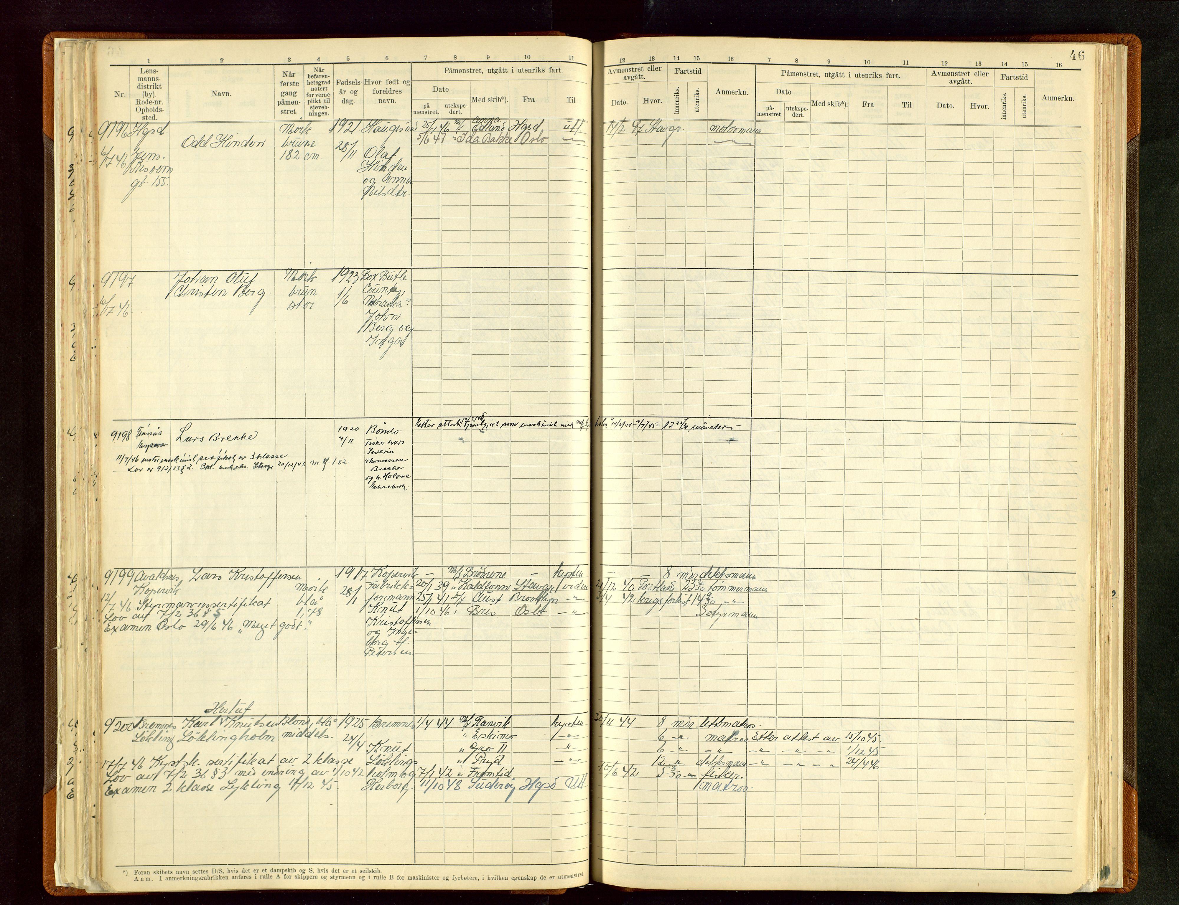 SAST, Haugesund sjømannskontor, F/Fb/Fbb/L0012: Sjøfartsrulle A Haugesund krets 2 nr. 8971-9629, 1868-1948, s. 46