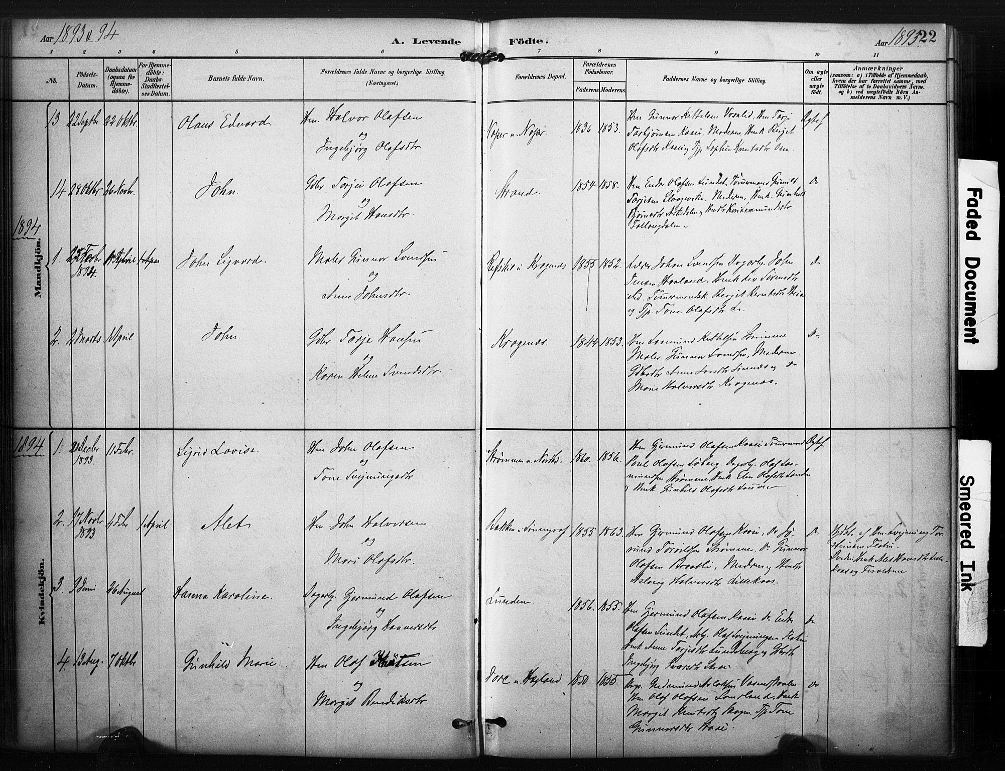 SAKO, Kviteseid kirkebøker, F/Fc/L0002: Ministerialbok nr. III 2, 1882-1908, s. 22